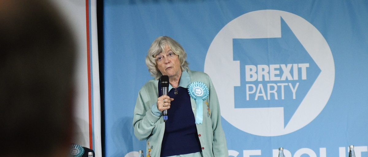 Brexit Party candidate Ann Widdecombe speaks at a European Parliament election campaign event in Pontefract, northwest England, on May 13, 2019. (OLI SCARFF/AFP/Getty Images)