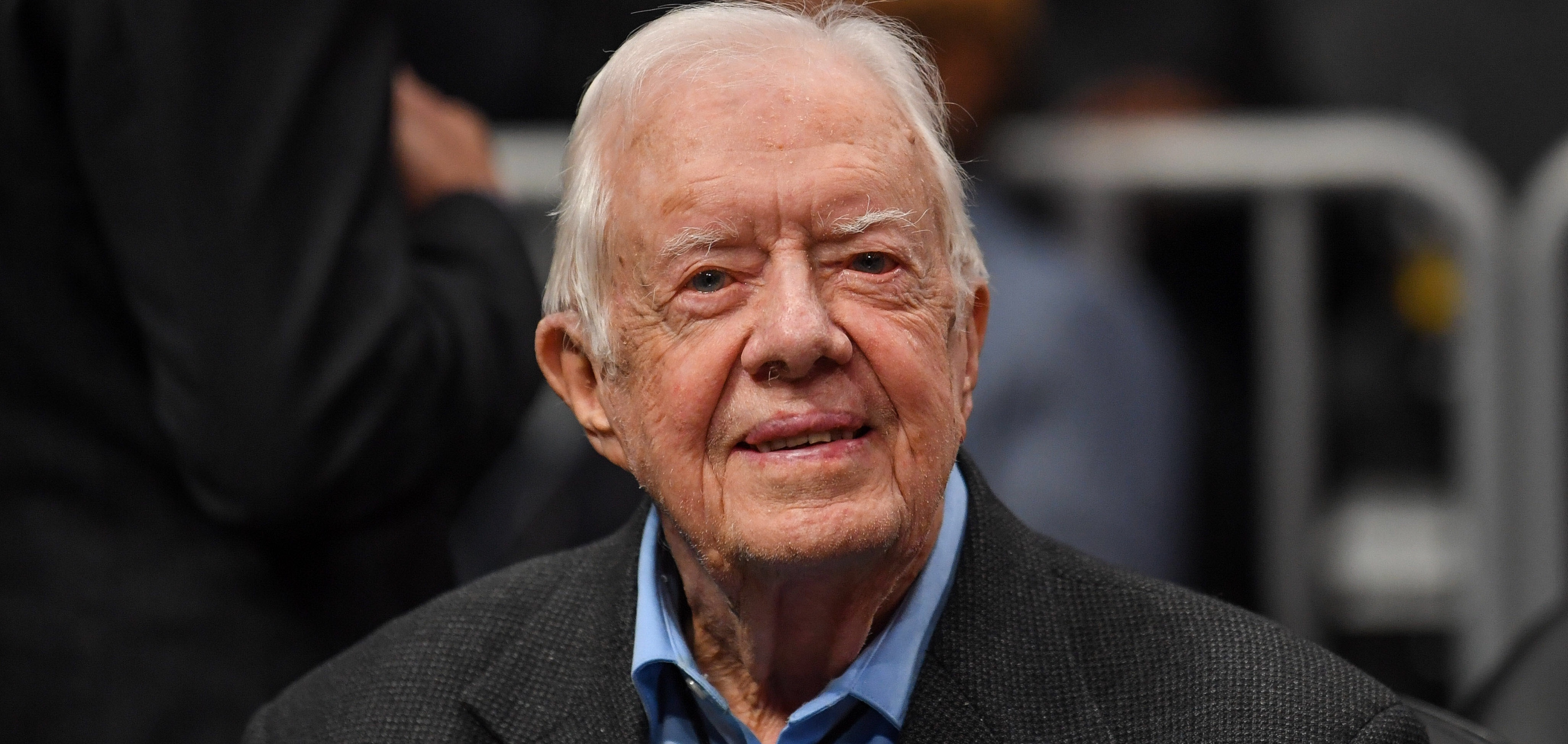 Feb 14, 2019; Atlanta, GA, USA; Former USA president Jimmy Carter shown at the game between the Atlanta Hawks and the New York Knicks at State Farm Arena. Mandatory Credit: Dale Zanine-USA TODAY Sports