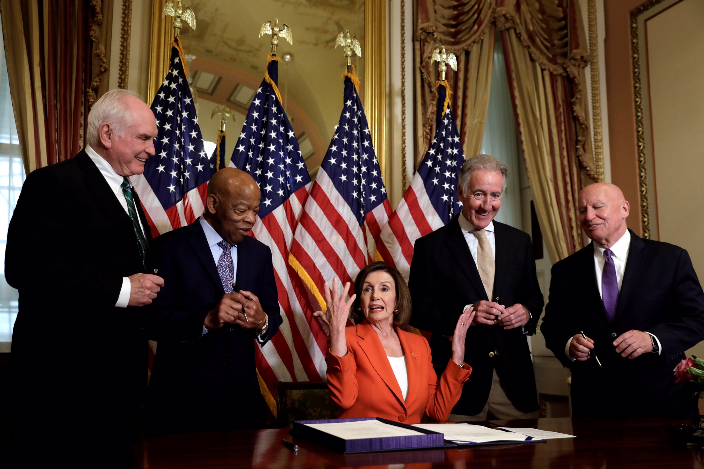 U.S. House Speaker Nancy Pelosi (D-CA) reacts after signing the Taxpayer First Act on Capitol Hill in Washington, U.S., June 21, 2019. REUTERS/Yuri Gripas