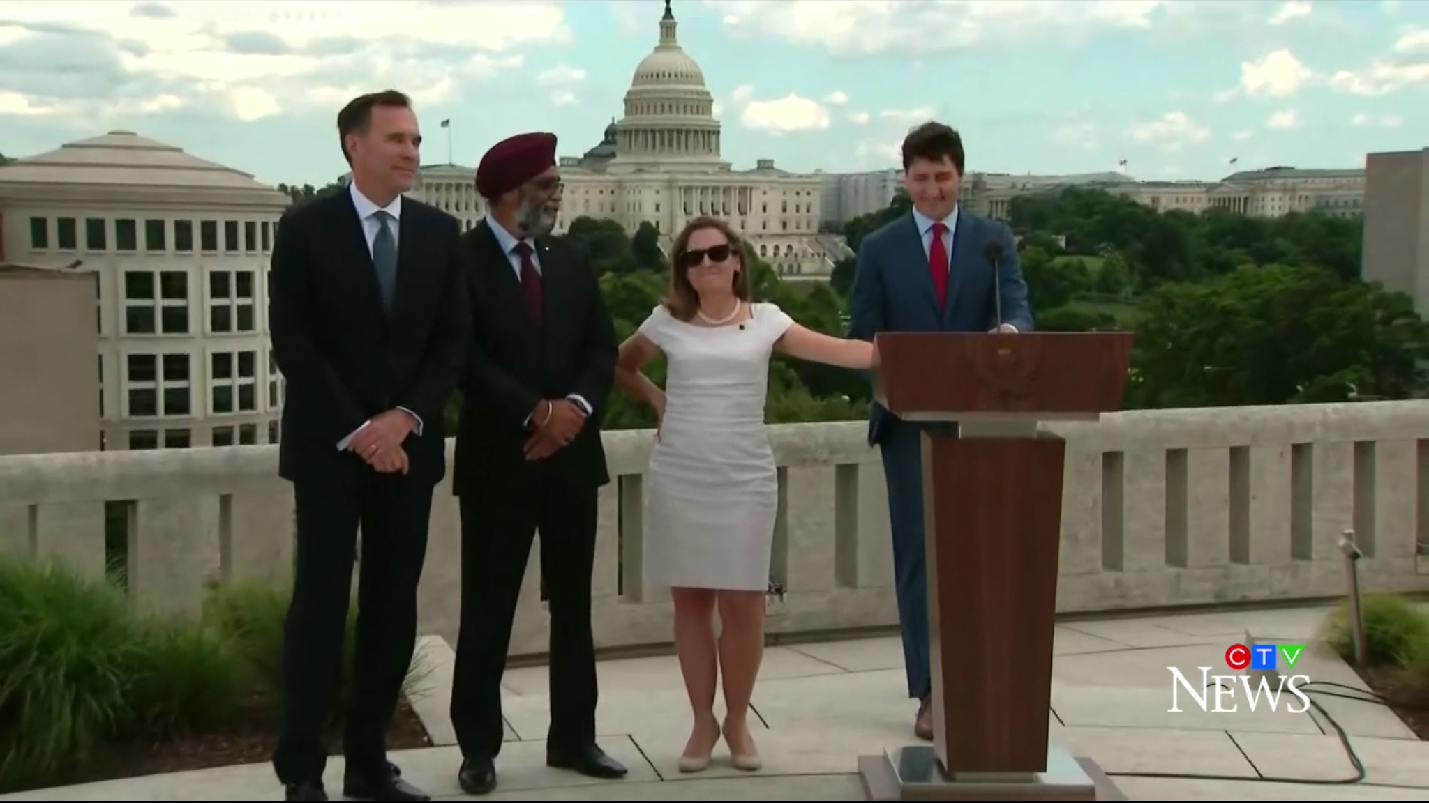 From left to right: Canadian Finance Minister Bill Morneau, Defense Minister Harjit Saajan, Foreign Affairs Minister Chrystia Freeland and Prime Minister Justin Trudeau prepare for news conference at the Canadian Embassy in Washington, D.C., June 20 2019. CTV News screenshot.