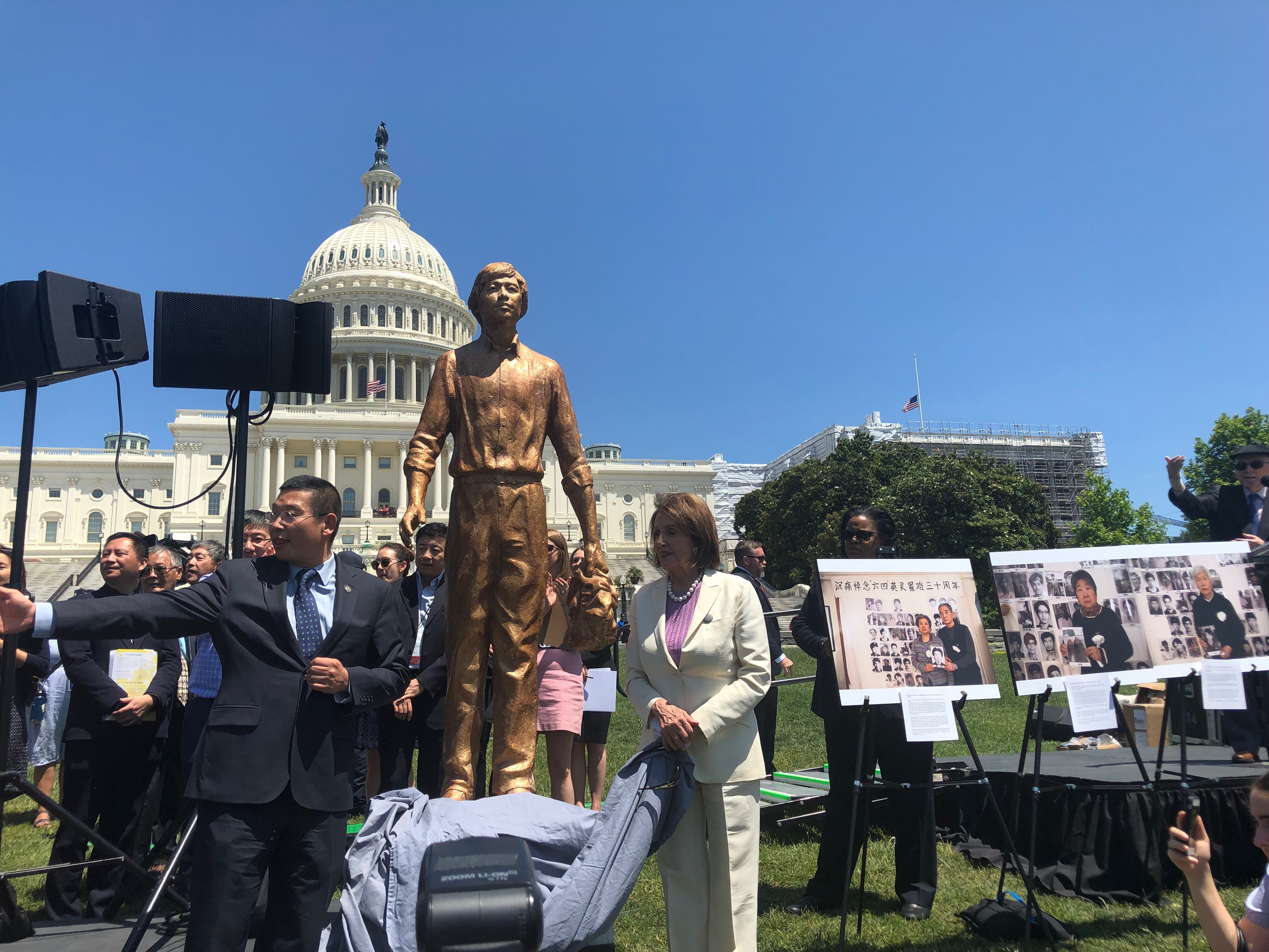 House Speaker Nancy Pelosi helped unveil a statue of the iconic Tank Man at a rally to commemorate the 30th anniversary of the Tiananmen Square Massacre held by the Victims of Communism Memorial Foundation in Washington, D.C., on June 4, 2019. Photo by Evie Fordham