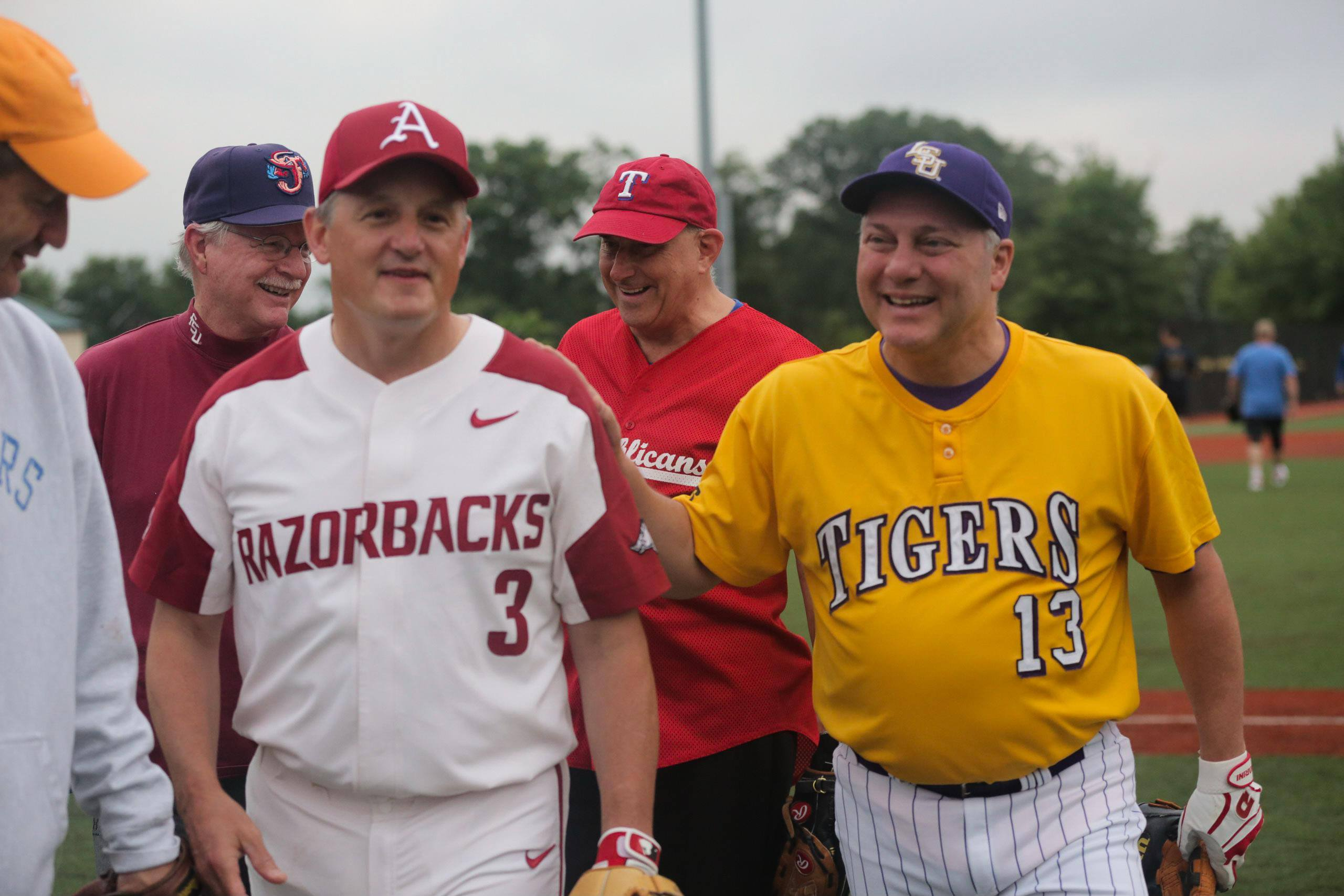 Arkansas Rep. Bruce Westerman (L) and Louisiana Rep. Steve Scalise (R) practice for the congressional baseball game on June 20, 2019. Image courtesy of Bruce Westerman and Transportation & Infrastructure Committee