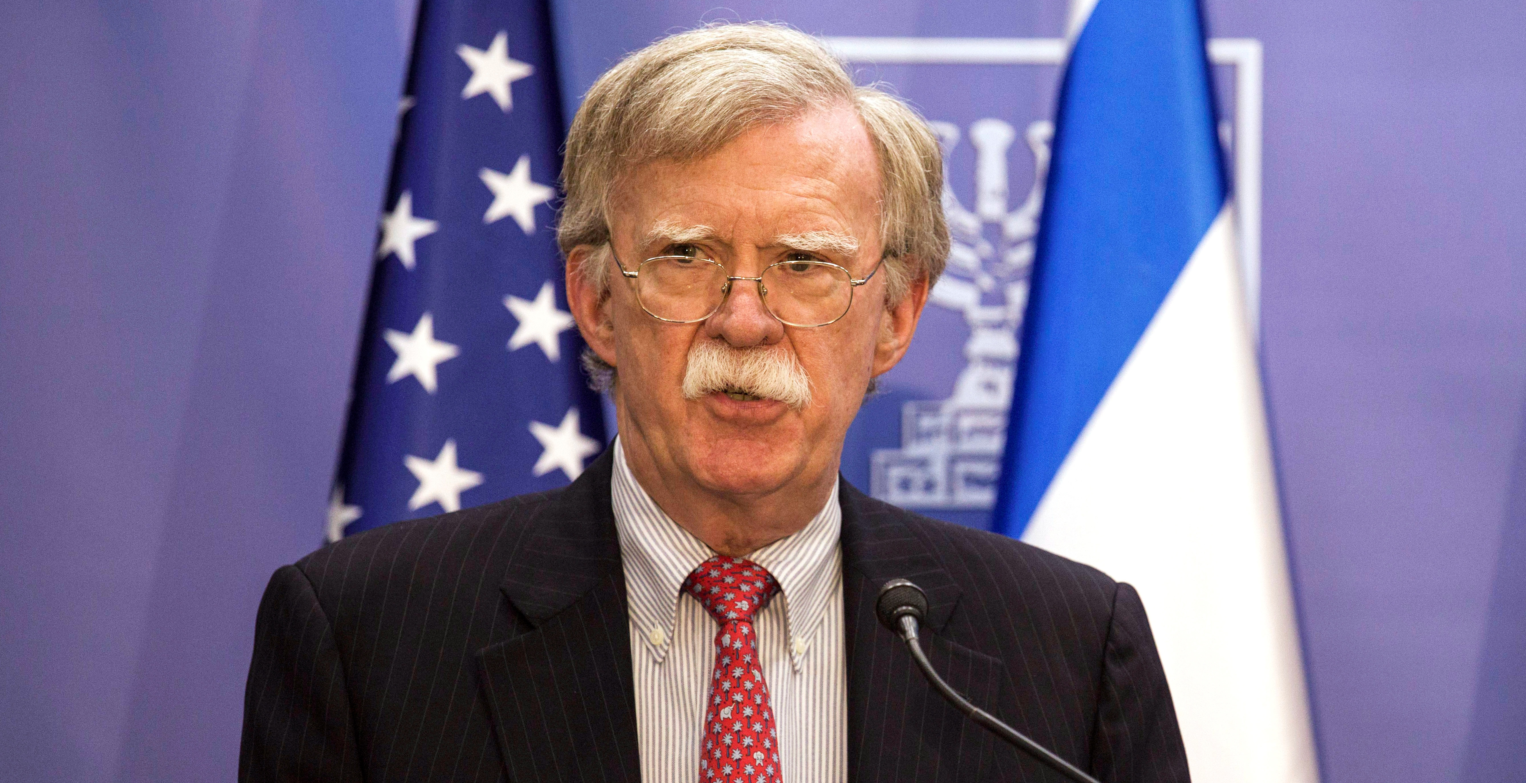 U.S. National Security Advisor John Bolton delivers joint statements with Israeli Prime Minister Benjamin Netanyahu in Jerusalem June 23, 2019. Tsafrir Abayov/Pool via REUTERS