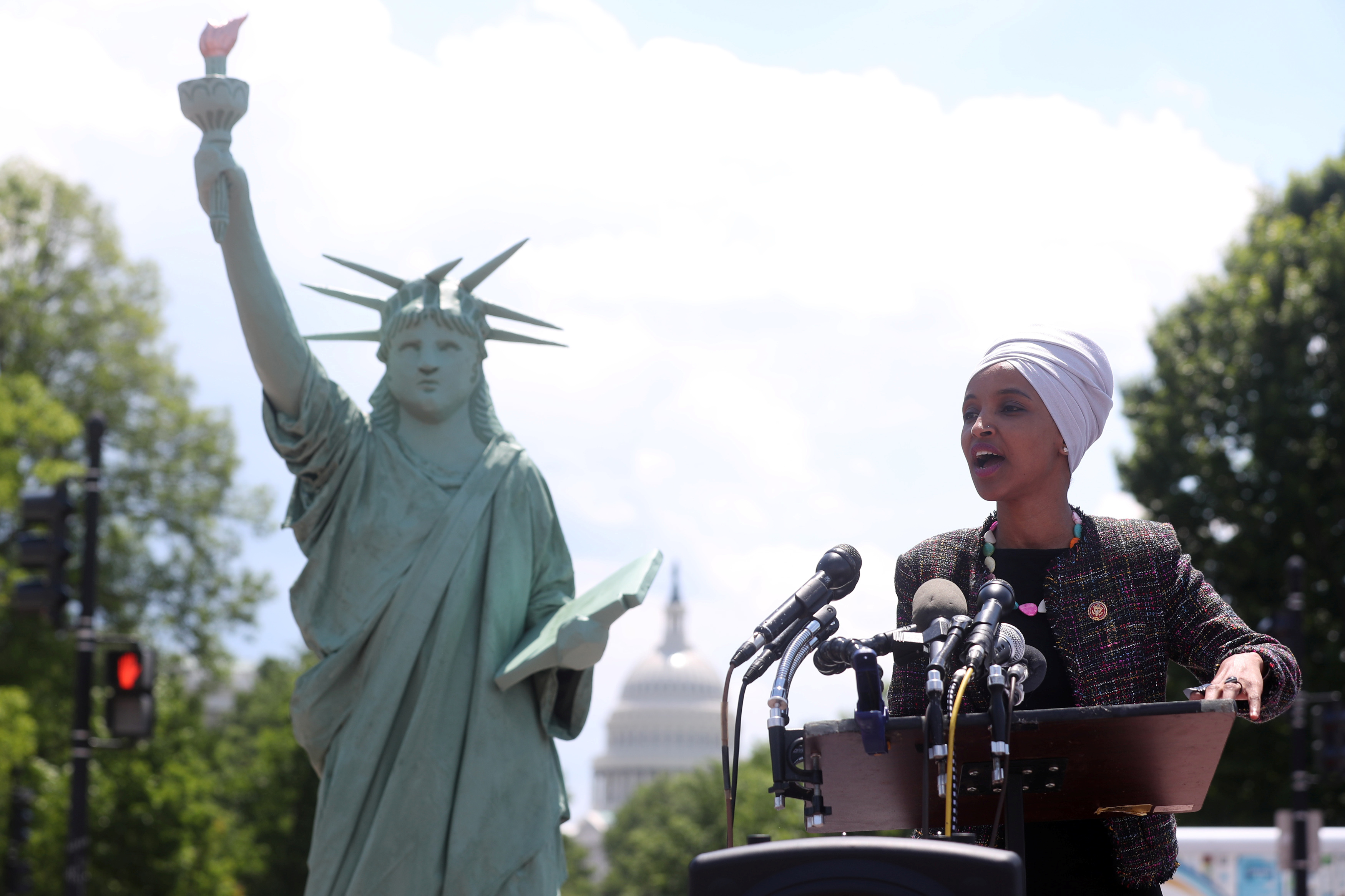 U.S. Representative Ilhan Omar (D-MN) addresses a small rally on immigration rights at the temporary installation of a replica of the Statue of Liberty at Union Station in Washington, U.S. May 16, 2019. REUTERS/Jonathan Ernst