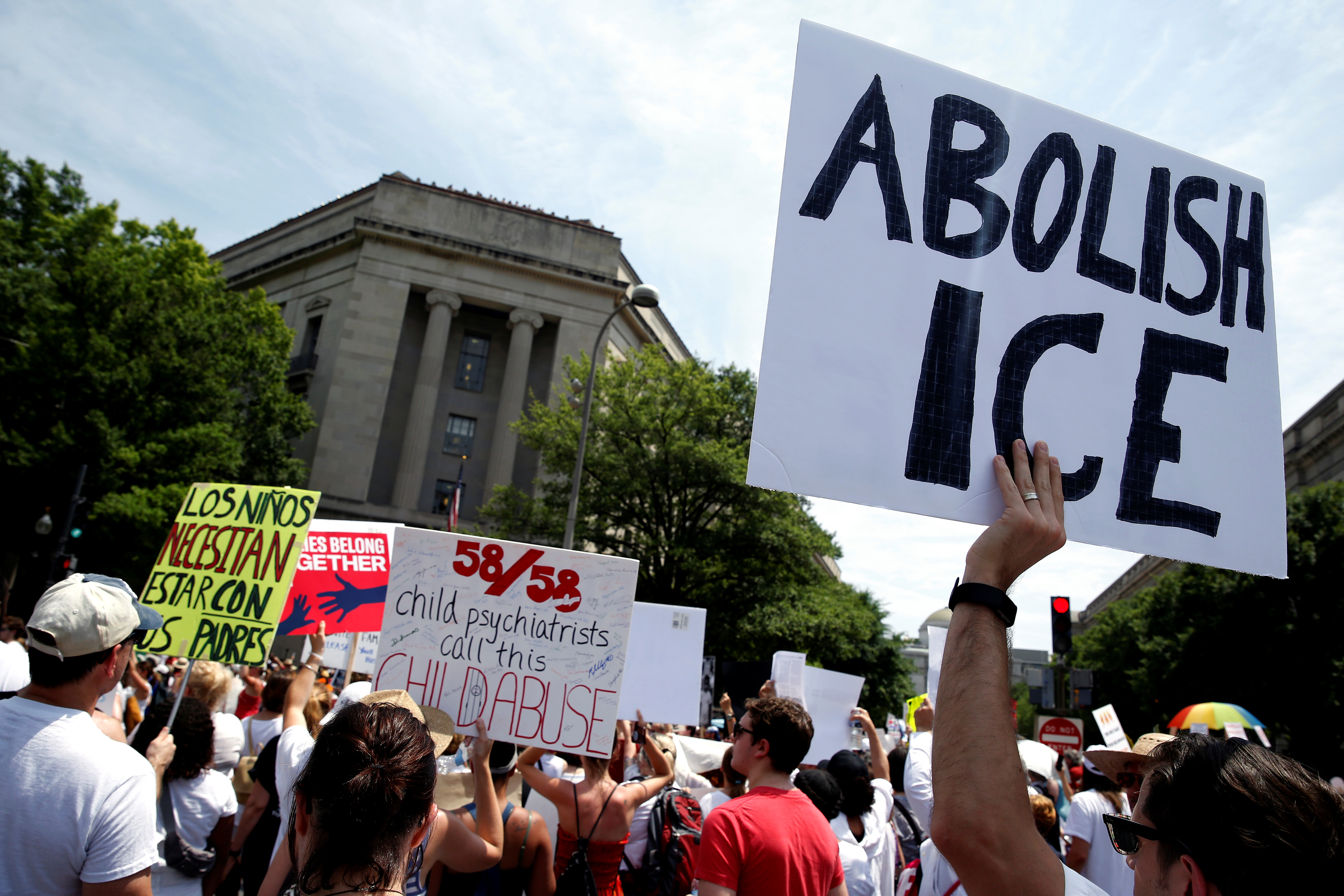 Immigration activists rally to protest against the Trump Administration's immigration policy in Washington