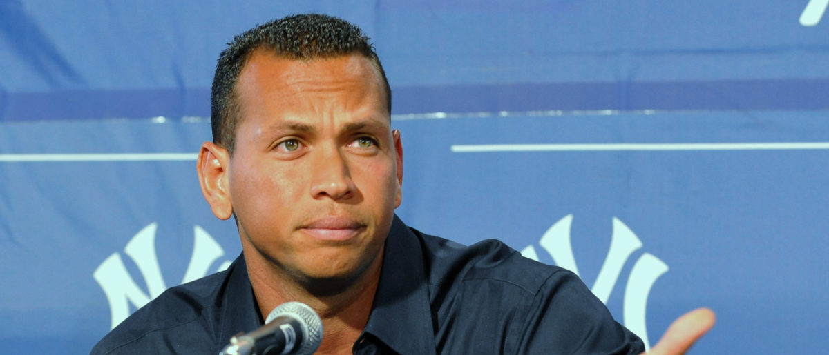 Infielder Alex Rodriguez of the New York Yankees pauses during a press conference about his performance enhancing drug use at the George Steinbrenner complex February 17, 2009 in Tampa, Florida. (Photo by Al Messerschmidt/Getty Images)