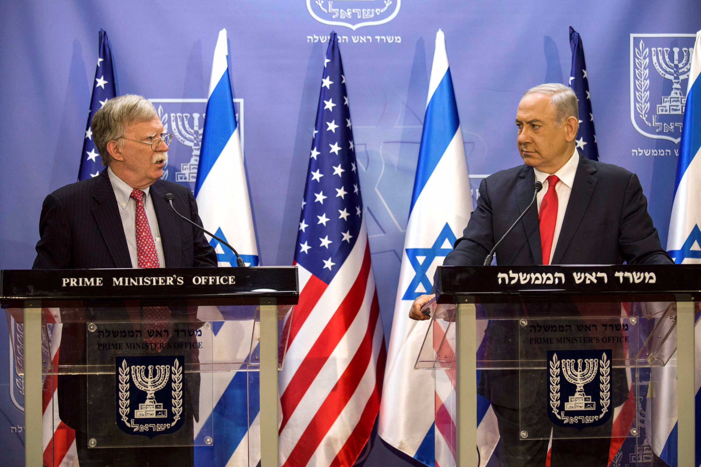Israeli Prime Minister Benjamin Netanyahu and U.S. National Security Advisor John Bolton deliver joint statements in Jerusalem June 23, 2019. Tsafrir Abayov/Pool via REUTERS