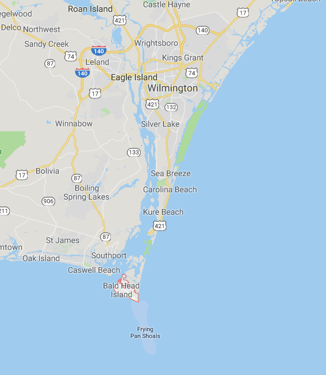 Pictured is Bald Head Island. Screenshot/Google Maps