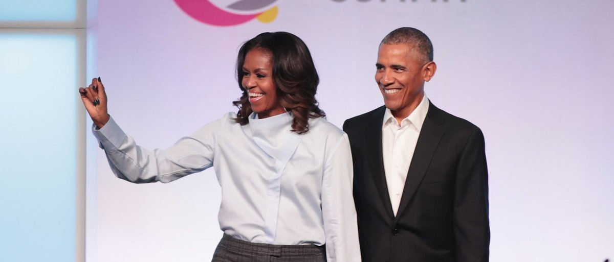 Former first Lady Michelle and former president Barack Obama are introduced at the inaugural Obama Foundation Summit on October 31, 2017 in Chicago, Illinois. The two-day event will feature a mix of community leaders politicians and artists exploring creative solutions to common problems, and experiencing art, technology, and music from around the world. (Photo by Scott Olson/Getty Images)