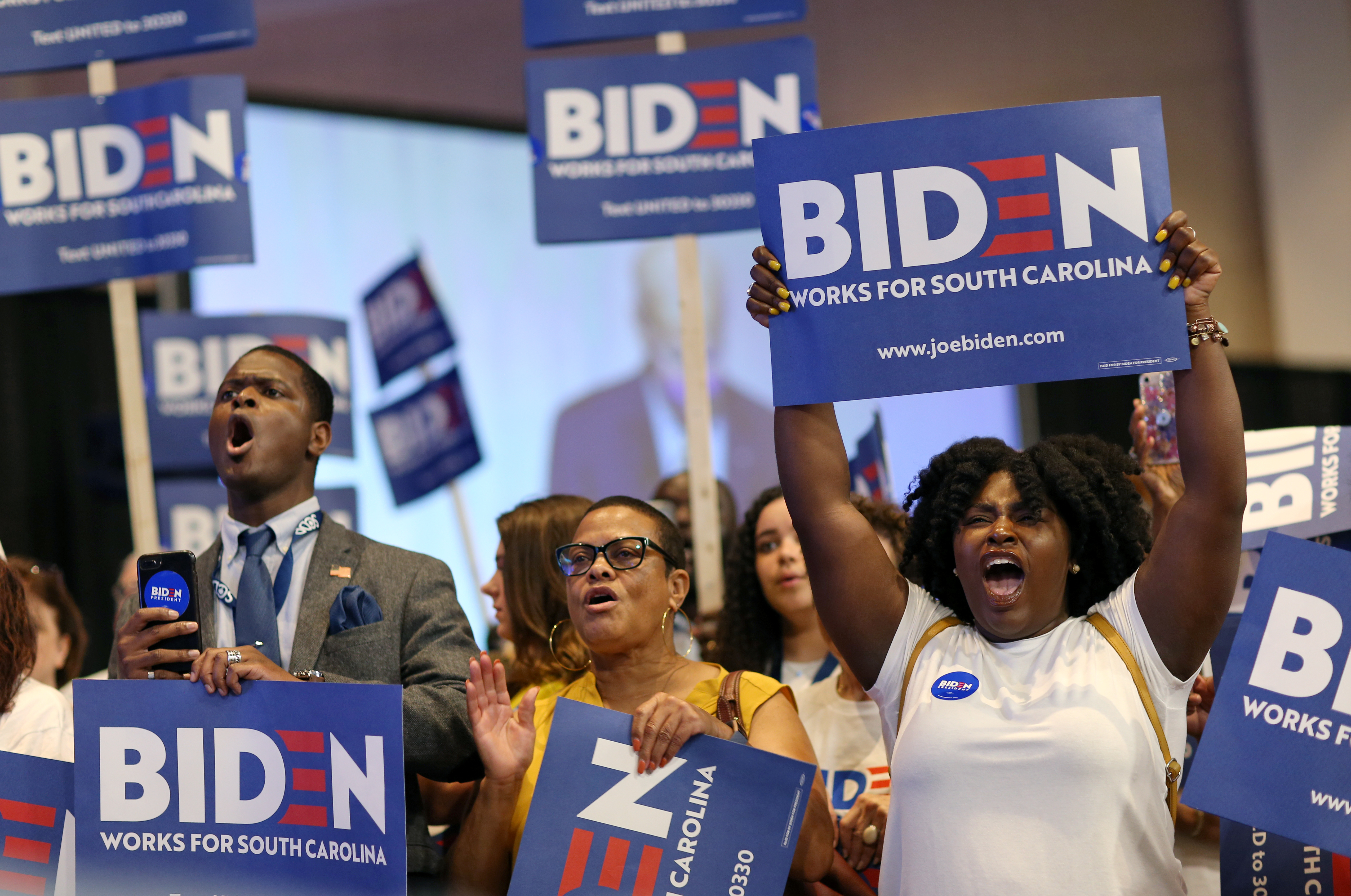 Candidates and supporters appear at the SC Democratic Convention in South Carolina