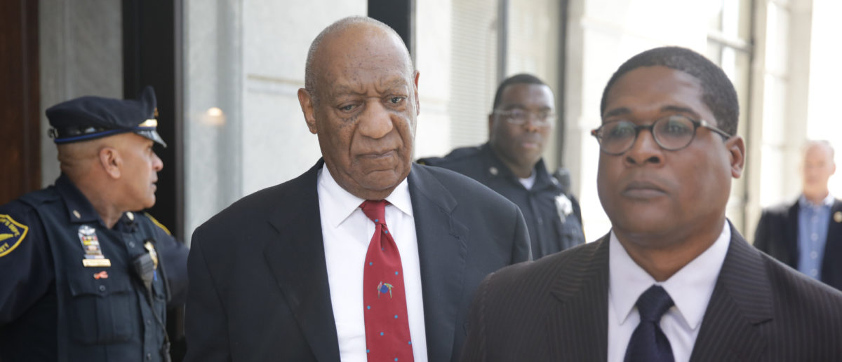 Actor and comedian Bill Cosby (C) comes out of the Courthouse after the verdict in the retrial of his sexual assault case at the Montgomery County Courthouse in Norristown, Pennsylvania on April 26, 2018. - Disgraced television icon Bill Cosby was convicted Thursday of sexual assault by a US jury -- losing a years-long legal battle that was made tougher at retrial as the first celebrity trial of the #MeToo era. (Photo by Dominick Reuter / AFP / Getty Images)