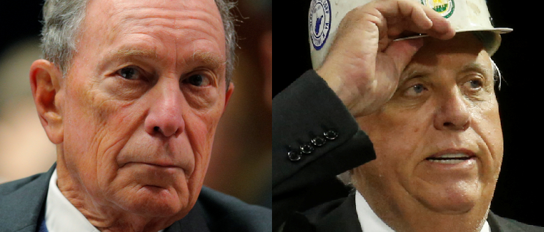 Left: Former New York City Mayor and possible 2020 Democratic presidential candidate Michael Bloomberg listens as he is introduced to speak at the Institute of Politics at Saint Anselm College in Manchester, New Hampshire, U.S., January 29, 2019. REUTERS/Brian Snyder Right: Jim Justice II, Governor of West Virginia, puts on a coal miner's hat that he said belonged to his father, at a Make America Great Again rally at the Civic Center in Charleston, West Virginia, U.S., August 21, 2018. REUTERS/Leah Millis
