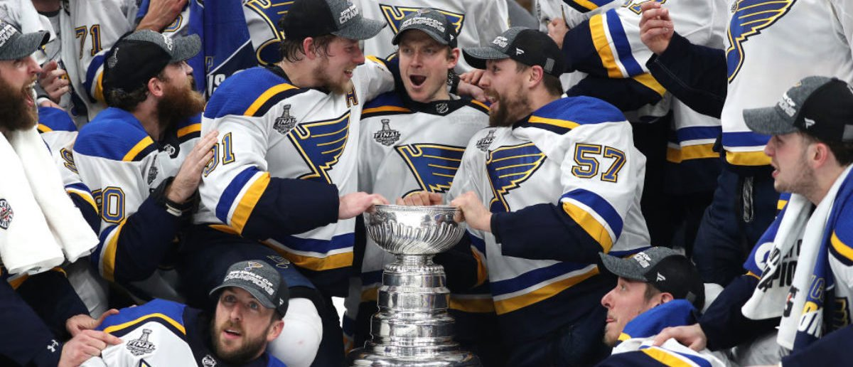 BOSTON, MASSACHUSETTS - JUNE 12: The St. Louis Blues celebrate after defeating the Boston Bruins in Game Seven to win the 2019 NHL Stanley Cup Final at TD Garden on June 12, 2019 in Boston, Massachusetts. (Photo by Patrick Smith/Getty Images)