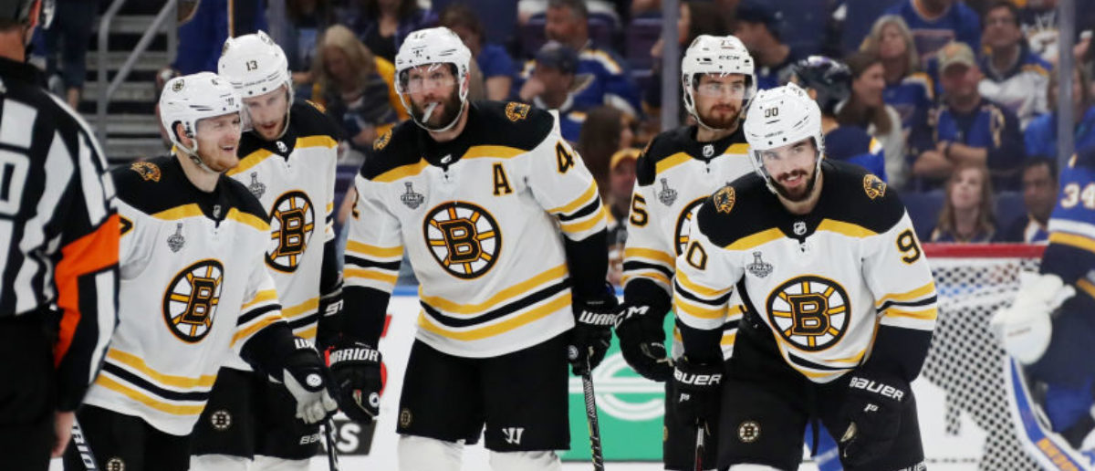 ST LOUIS, MISSOURI - JUNE 01: Marcus Johansson #90 of the Boston Bruins celebrates his third period goal with his teammates against the St. Louis Blues in Game Three of the 2019 NHL Stanley Cup Final at Enterprise Center on June 01, 2019 in St Louis, Missouri. (Photo by Bruce Bennett/Getty Images)