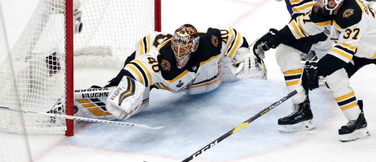 ST LOUIS, MISSOURI - JUNE 09: Tuukka Rask #40 of the Boston Bruins allows a third period goal to Ryan O'Reilly #90 of the St. Louis Blues in Game Six of the 2019 NHL Stanley Cup Final at Enterprise Center on June 09, 2019 in St Louis, Missouri. (Photo by Jamie Squire/Getty Images)