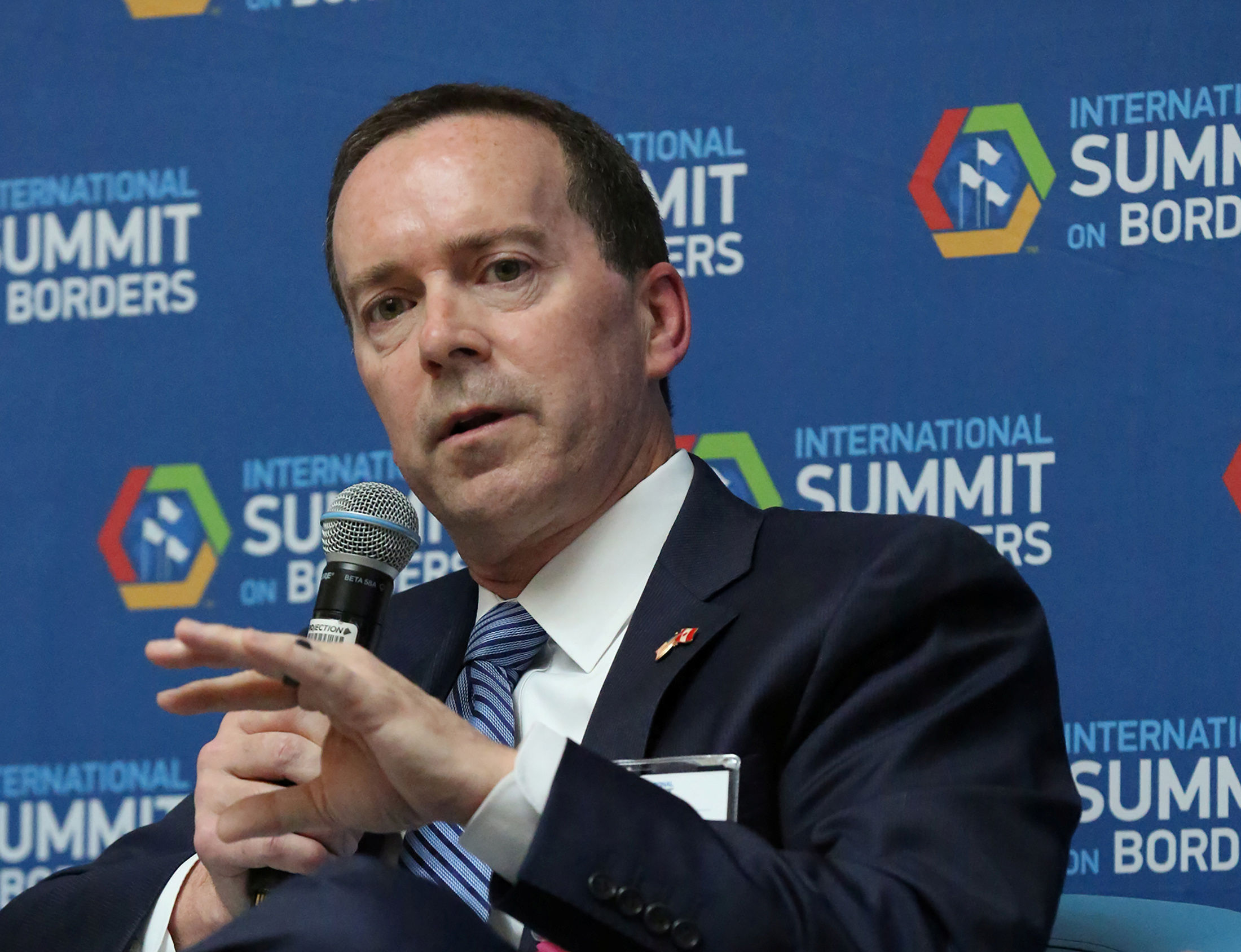 U.S. Customs and Border Protection Acting Commissioner John Sanders speaks in a panel discussion at International Summit on Borders in Washington