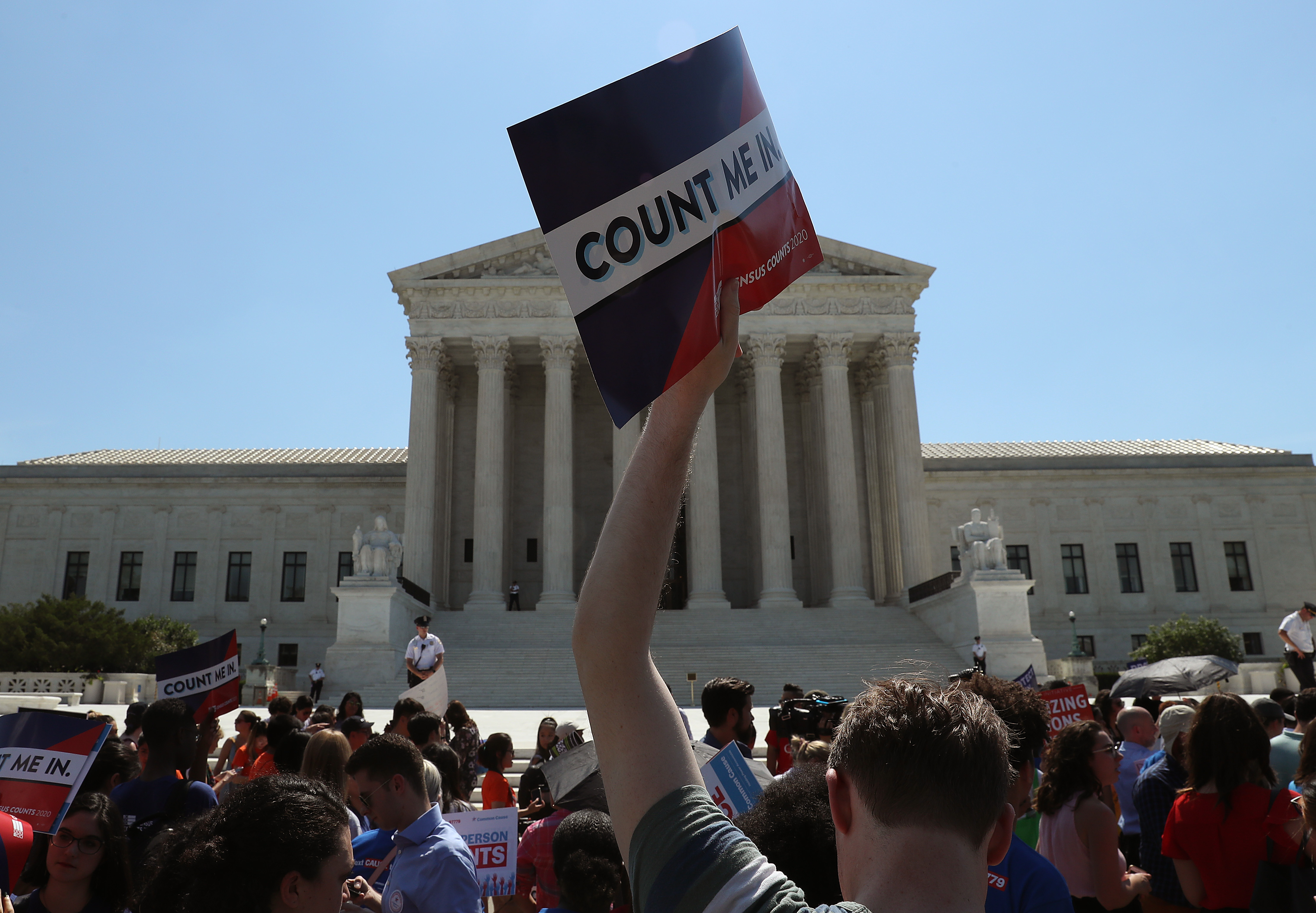 Demonstrators gather in front of the Supreme Court after the census decision was handed down on June 27, 2019. (Mark Wilson/Getty Images)