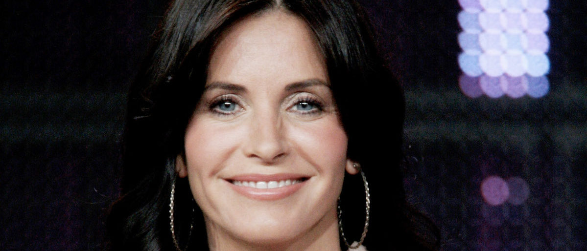 """Actress Courteney Cox of the television show """"Cougar Town"""" speaks during the ABC Network portion of the 2009 Summer Television Critics Association Press Tour at The Langham Huntington Hotel & Spa on August 8, 2009 in Pasadena, California. (Photo by Frederick M. Brown/Getty Images)"""