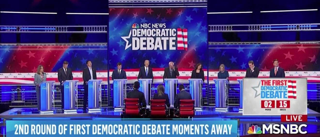 Democratic Debates on MSNBC June 27, 2019. Photo screenshot.