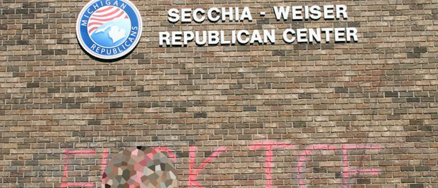 """""""F*CK ICE"""" displayed prominently on the front of the Michigan GOP Headquarters."""