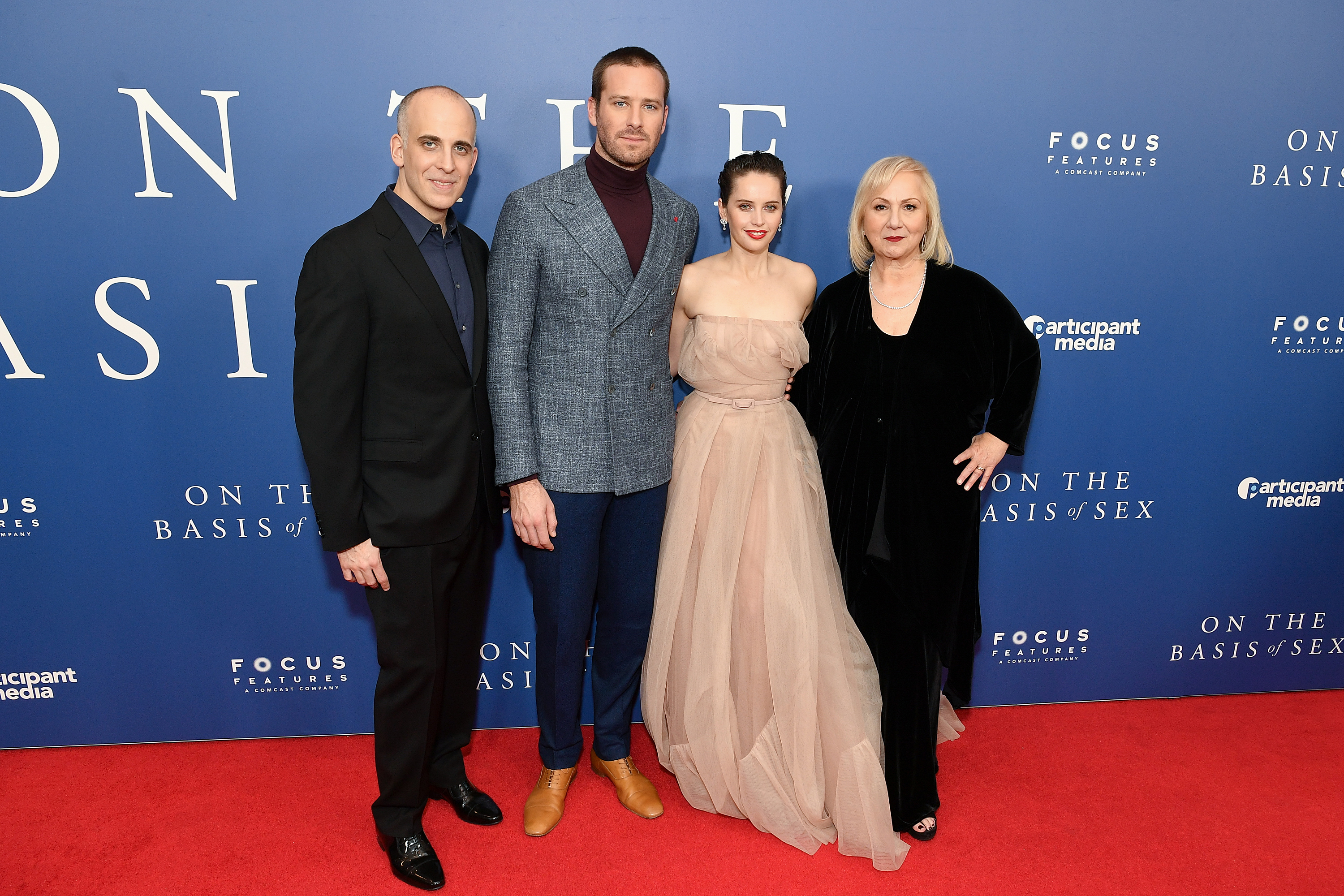 """(L-R) Writer Daniel Stiepleman, Armie Hammer, Felicity Jones, and director Mimi Leder attend a screening of """"On the Basis of Sex"""" at Walter Reade Theater in New York City on December 16, 2018. (Dia Dipasupil/Getty Images)"""