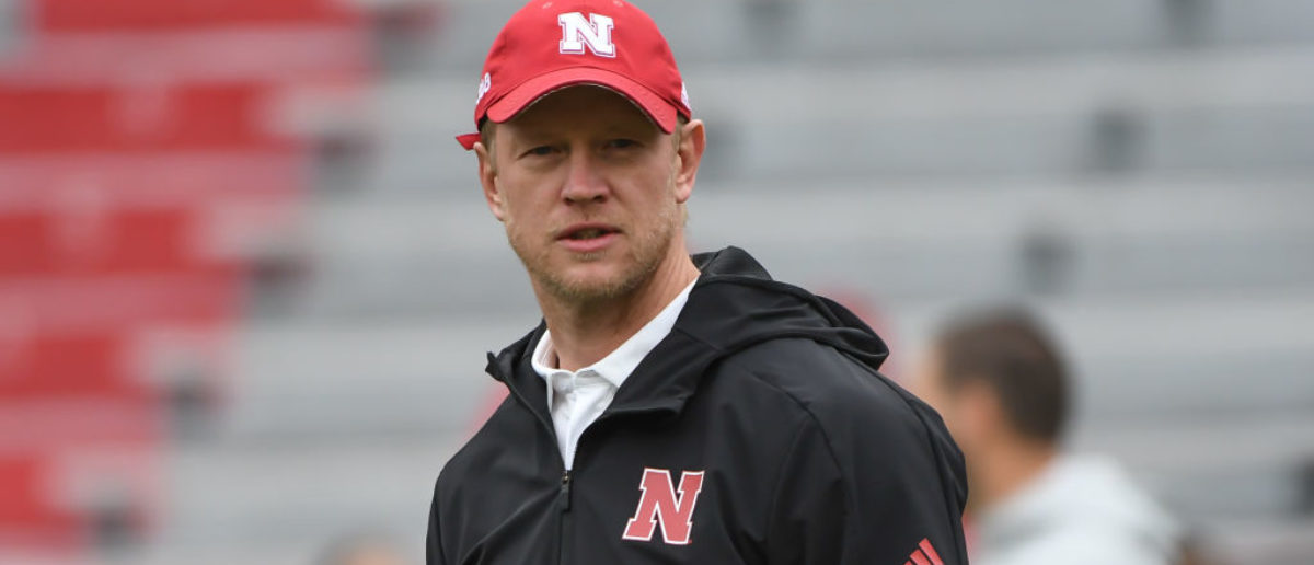 LINCOLN, NE - SEPTEMBER 29: Head coach Scott Frost of the Nebraska Cornhuskers watches warm ups before the game against the Purdue Boilermakers at Memorial Stadium on September 29, 2018 in Lincoln, Nebraska. (Photo by Steven Branscombe/Getty Images)