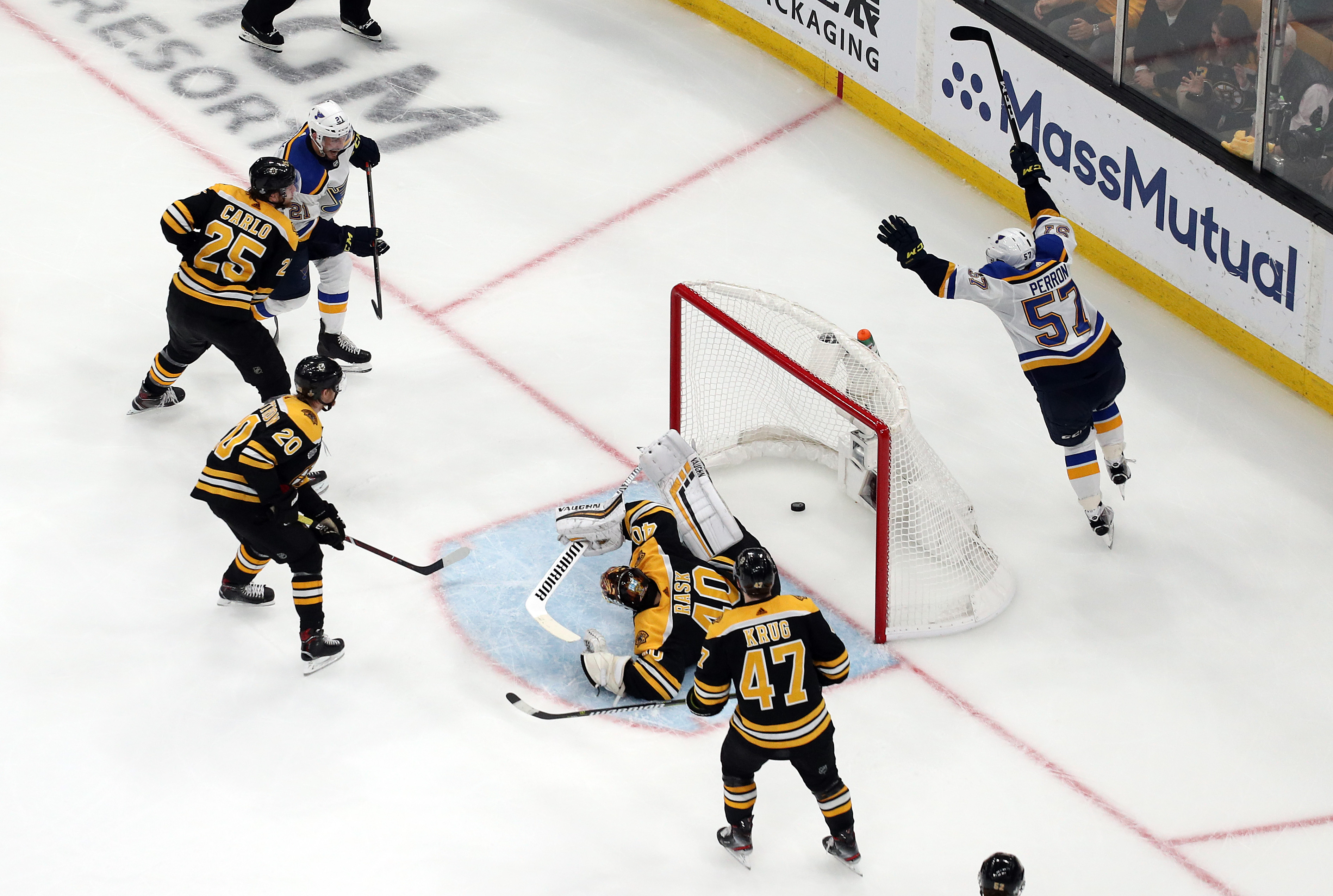 David Perron #57 of the St. Louis Blues scores a third period goal past Tuukka Rask #40 of the Boston Bruins in Game Five of the 2019 NHL Stanley Cup Final at TD Garden on June 06, 2019 in Boston, Massachusetts. (Photo by Patrick Smith/Getty Images)
