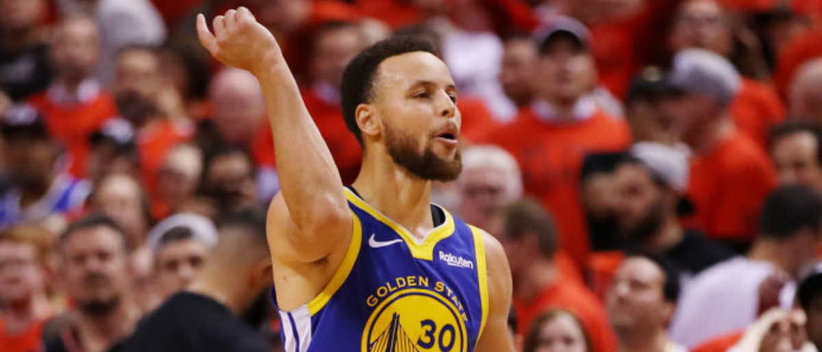 TORONTO, ONTARIO - JUNE 10: Stephen Curry #30 of the Golden State Warriors reacts against the Toronto Raptors in the second half during Game Five of the 2019 NBA Finals at Scotiabank Arena on June 10, 2019 in Toronto, Canada. (Photo by Gregory Shamus/Getty Images)