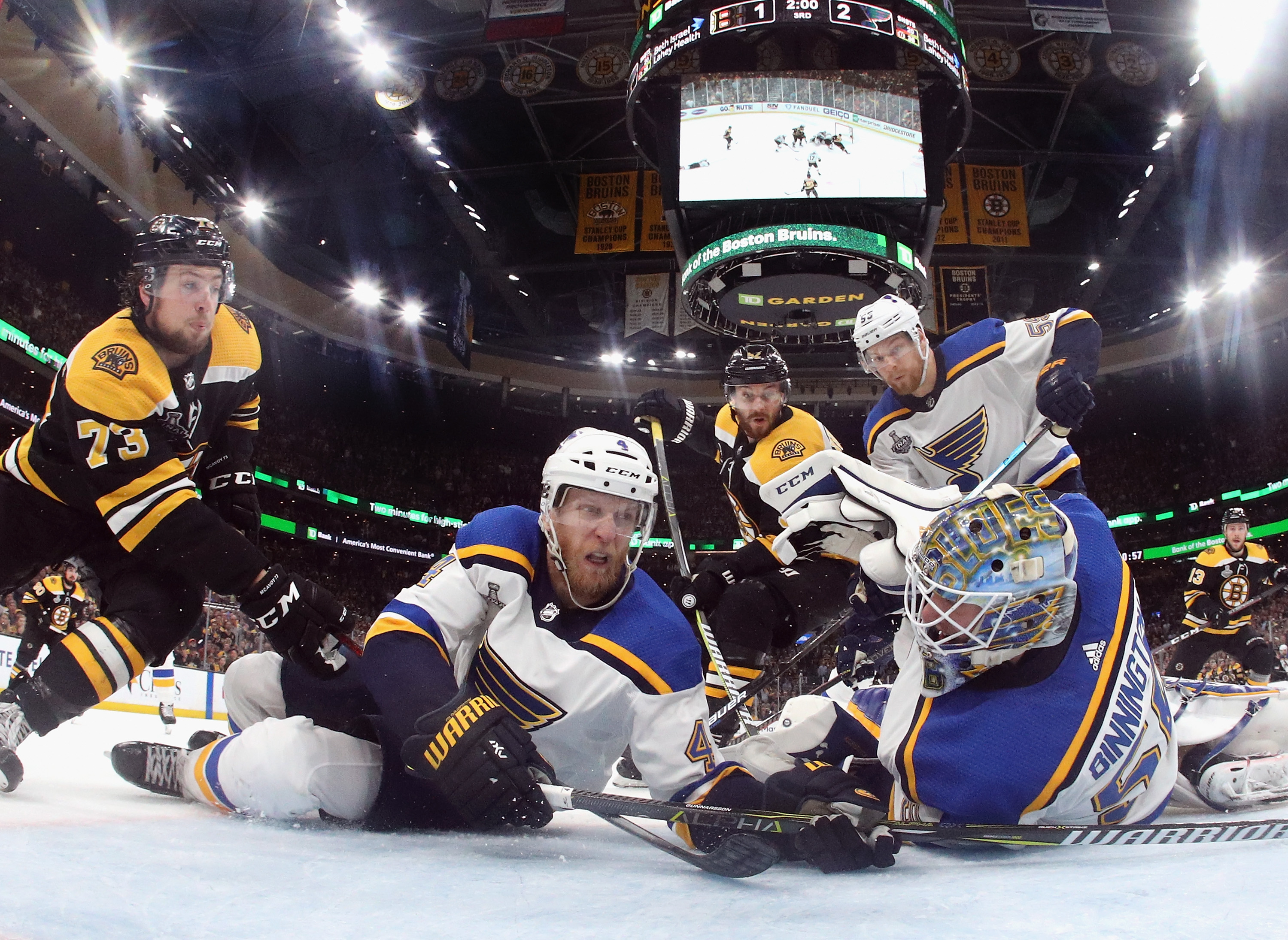 Carl Gunnarsson #4 and Jordan Binnington #50 of the St. Louis Blues defend the goal against the Boston Bruins during the third period in Game Five of the 2019 NHL Stanley Cup Final at TD Garden on June 06, 2019 in Boston, Massachusetts. (Photo by Bruce Bennett/Getty Images)