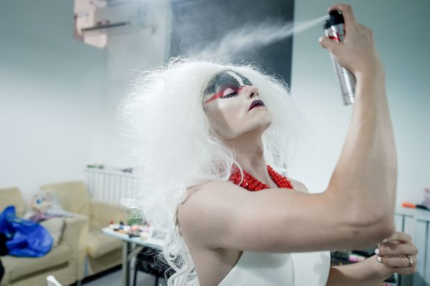 A drag queen prepares for a performance September 12, 2018 (WANG ZHAO/AFP/Getty Images)