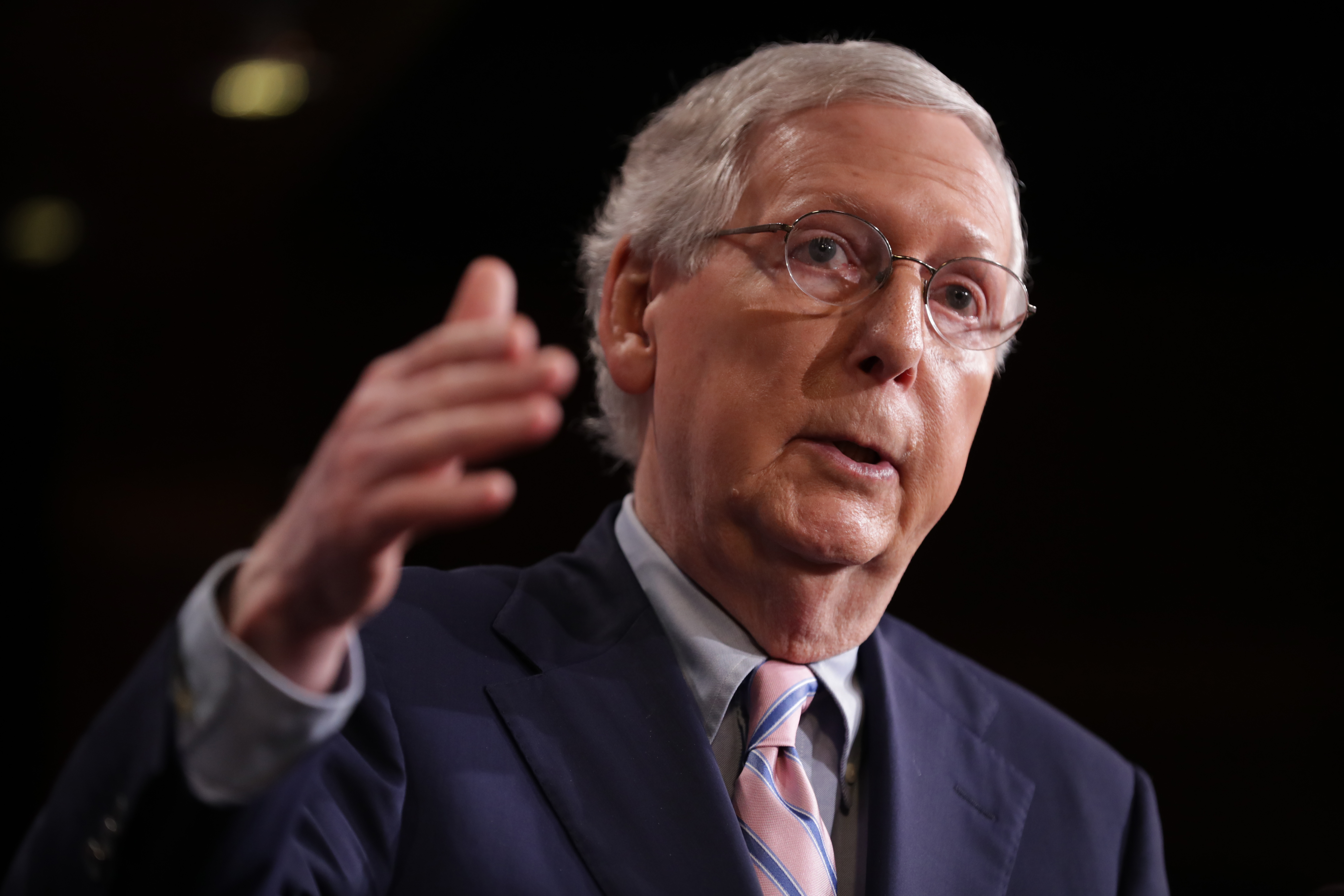 Senate Majority Leader Mitch McConnell (R-KY) talks to reporters after the Senate voted to confirm Supreme Court nominee Judge Brett Kavanaugh at the U.S. Capitol October 06, 2018 in Washington, DC. The Senate voted 50-48 to confirm Kavanaugh to replace retired Associate Justice Anthony Kennedy. (Photo by Chip Somodevilla/Getty Images)