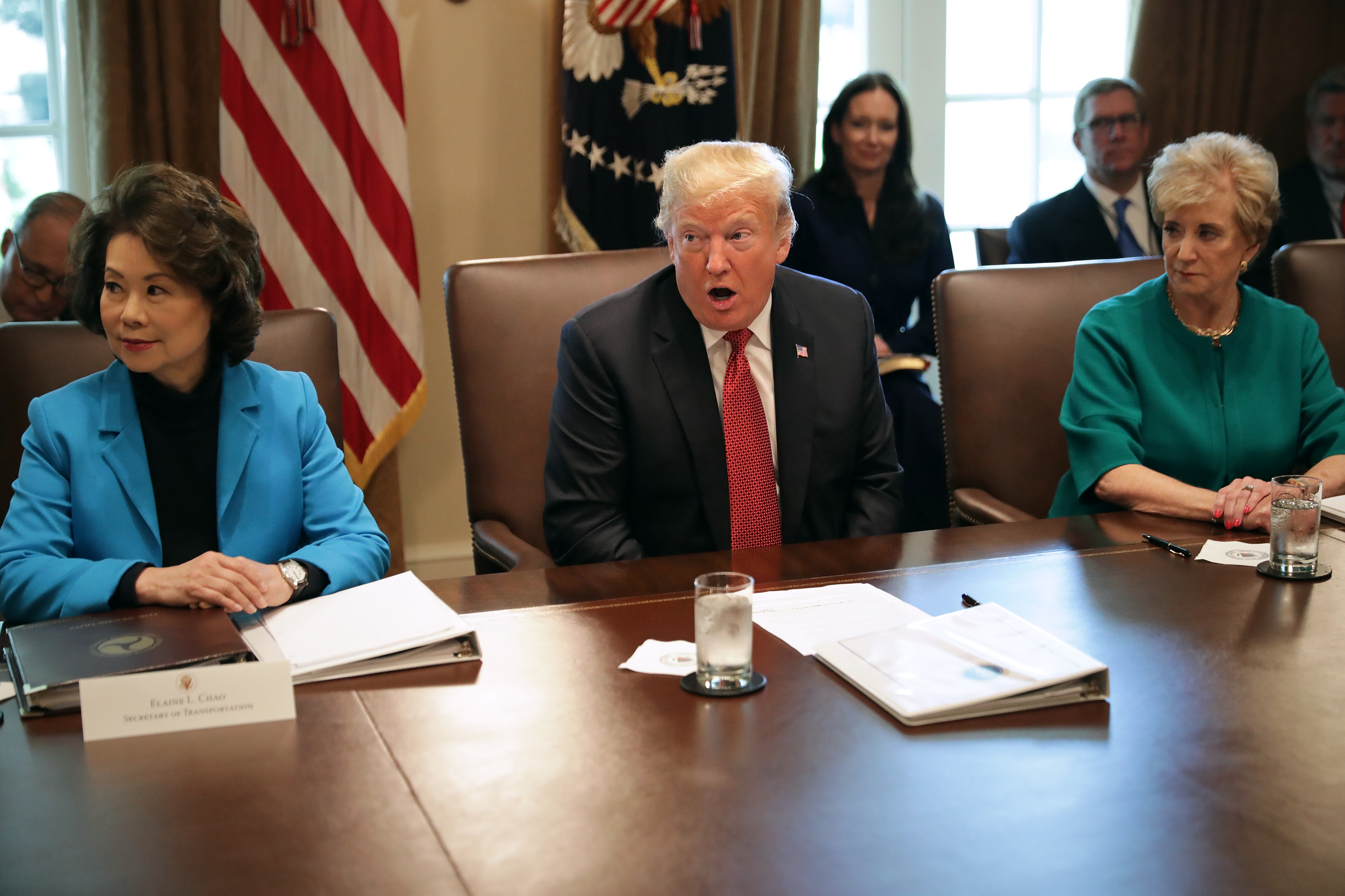 U.S. President Donald Trump conducts a cabinet meeting with Transportation Secretary Elaine Chao (L) in the Cabinet Room at the White House October 17, 2018 in Washington, DC. (Photo by Chip Somodevilla/Getty Images)