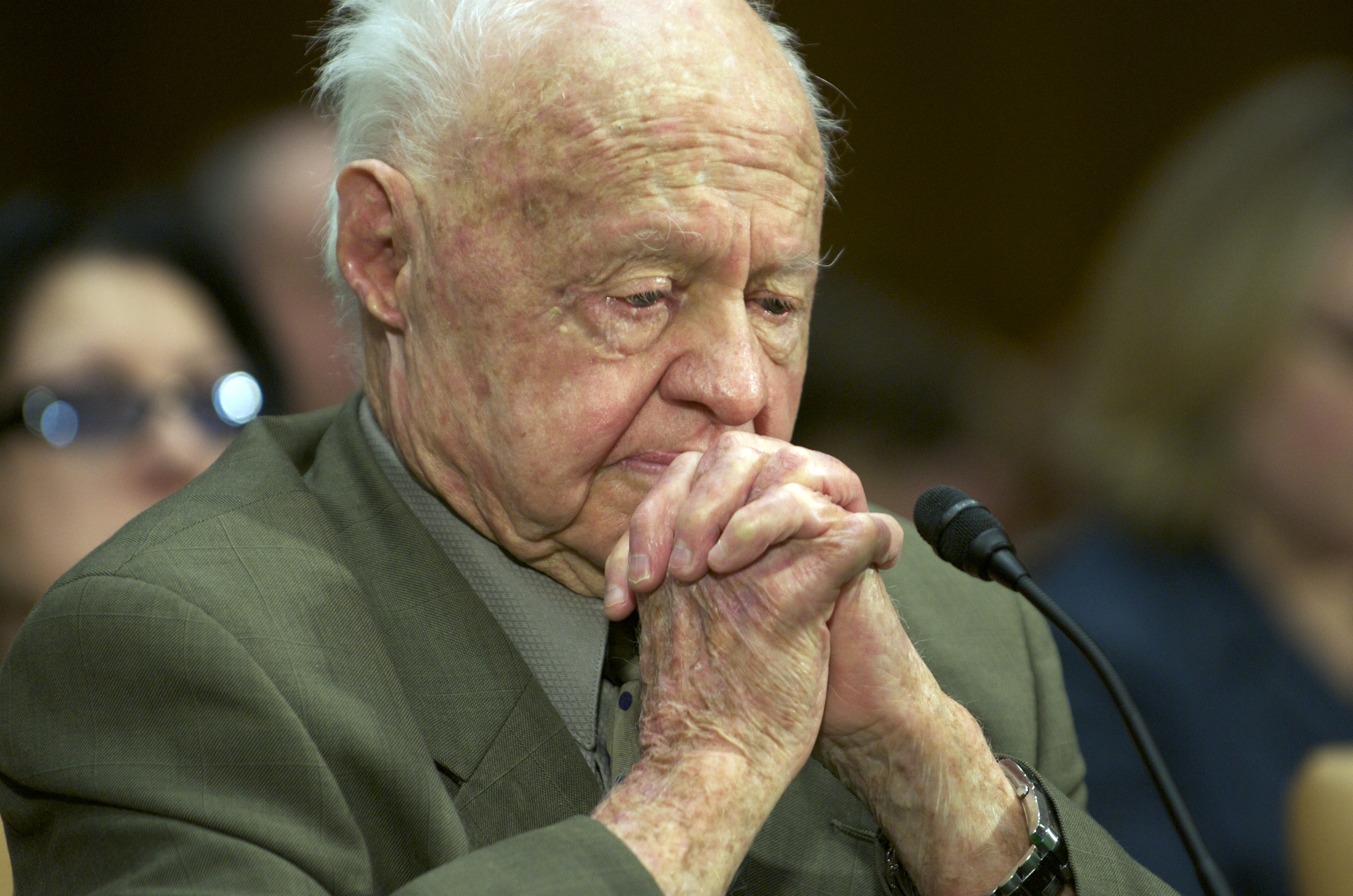 "US actor and elder abuse victim/advocate Mickey Rooney gave emotional testimony before a Senate Special Committee on Aging titled ""Ending Neglect Financial Elder Abuse"" in the Dirksen Senate Office Building on Capitol Hill in Washington, DC, March 2, 2011. (ROD LAMKEY JR/AFP/Getty Images)"