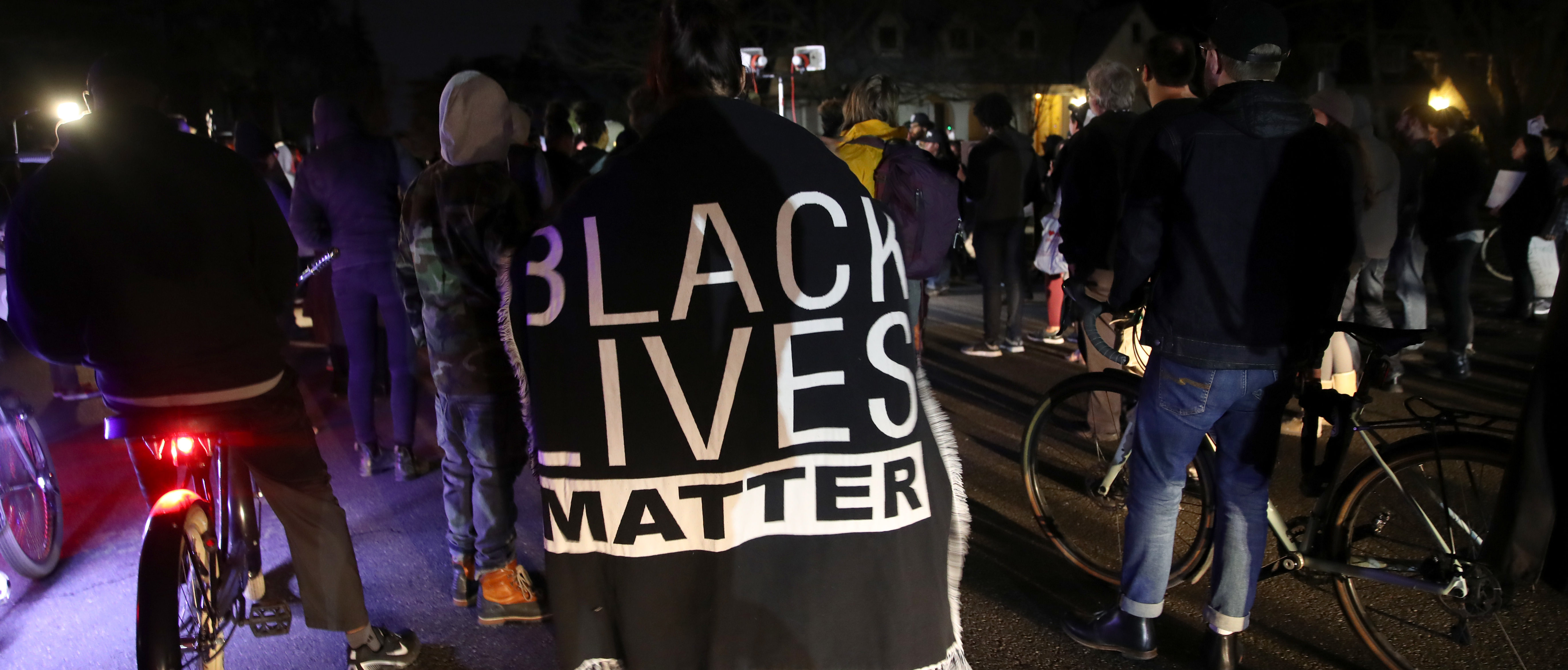 SACRAMENTO, CALIFORNIA - MARCH 04: Black Lives Matter protesters march through the streets as they demonstrate the decision by Sacramento District Attorney to not charge the Sacramento police officers who shot and killed Stephon Clark last year on March 04, 2019 in Sacramento, California. Dozens of Black Lives Matter protesters demonstrated against the decision by Sacramento District Attorney Anne Marie Schubert to not charge two police officers who shot and killed Stephon Clark, an unarmed black man. (Photo by Justin Sullivan/Getty Images)
