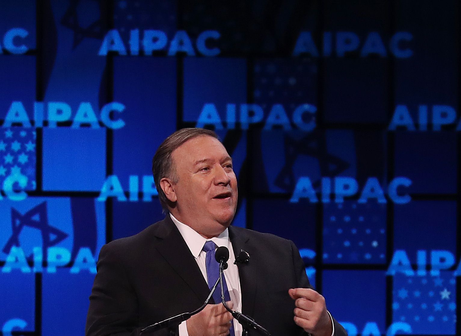 US Secretary of State Mike Pompeo speaks at the annual American Israel Public Affairs Committee (AIPAC) conference on March 25, 2019 in Washington, DC. (Photo by Mark Wilson/Getty Images)