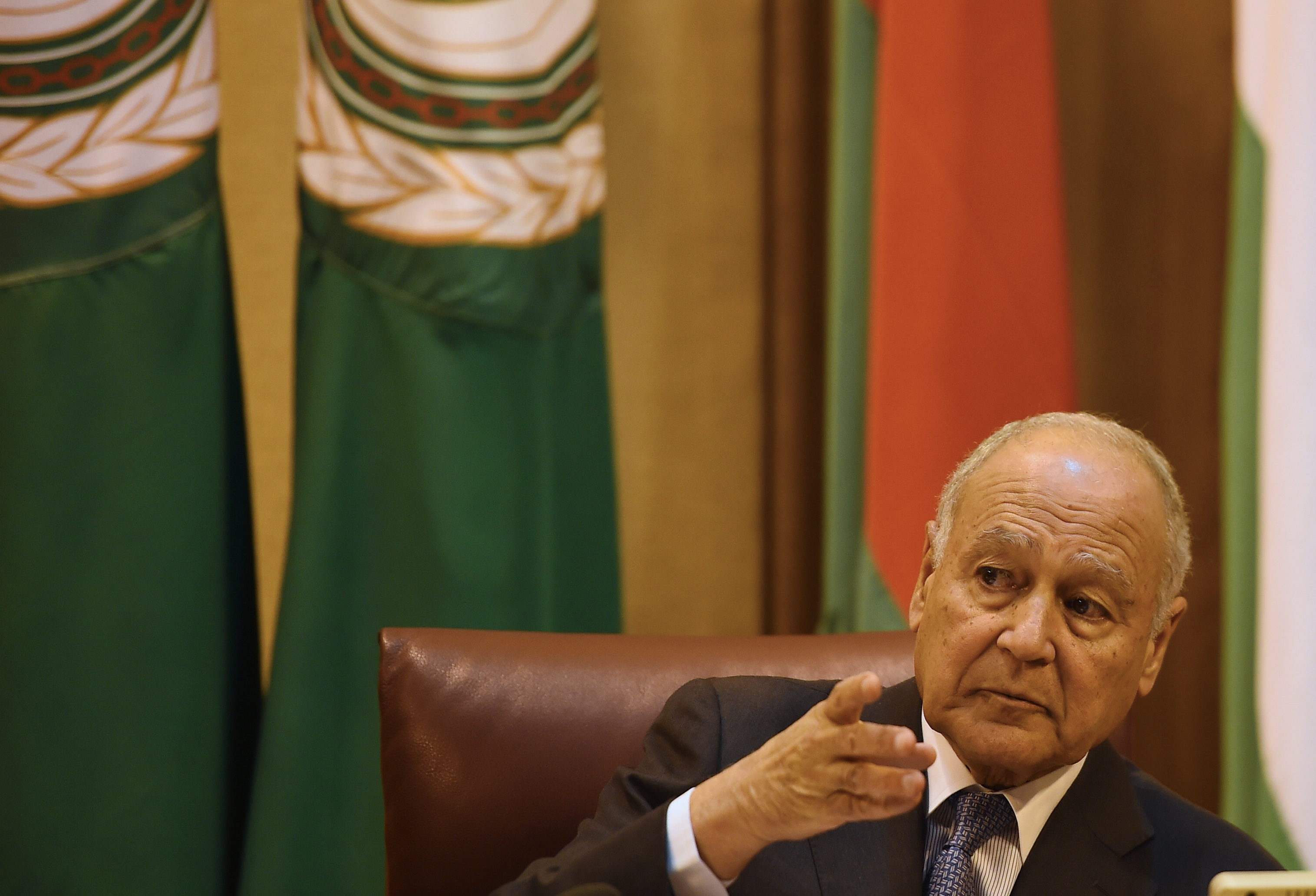 Arab League Secretary General Ahmed Abul Gheit addresses a meeting of the Arab League member states at the grouping's headquarters in the Egyptian capital of Cairo to discuss the latest developments in the Palestinian territories on April 21, 2019. (MOHAMED EL-SHAHED/AFP/Getty Images)