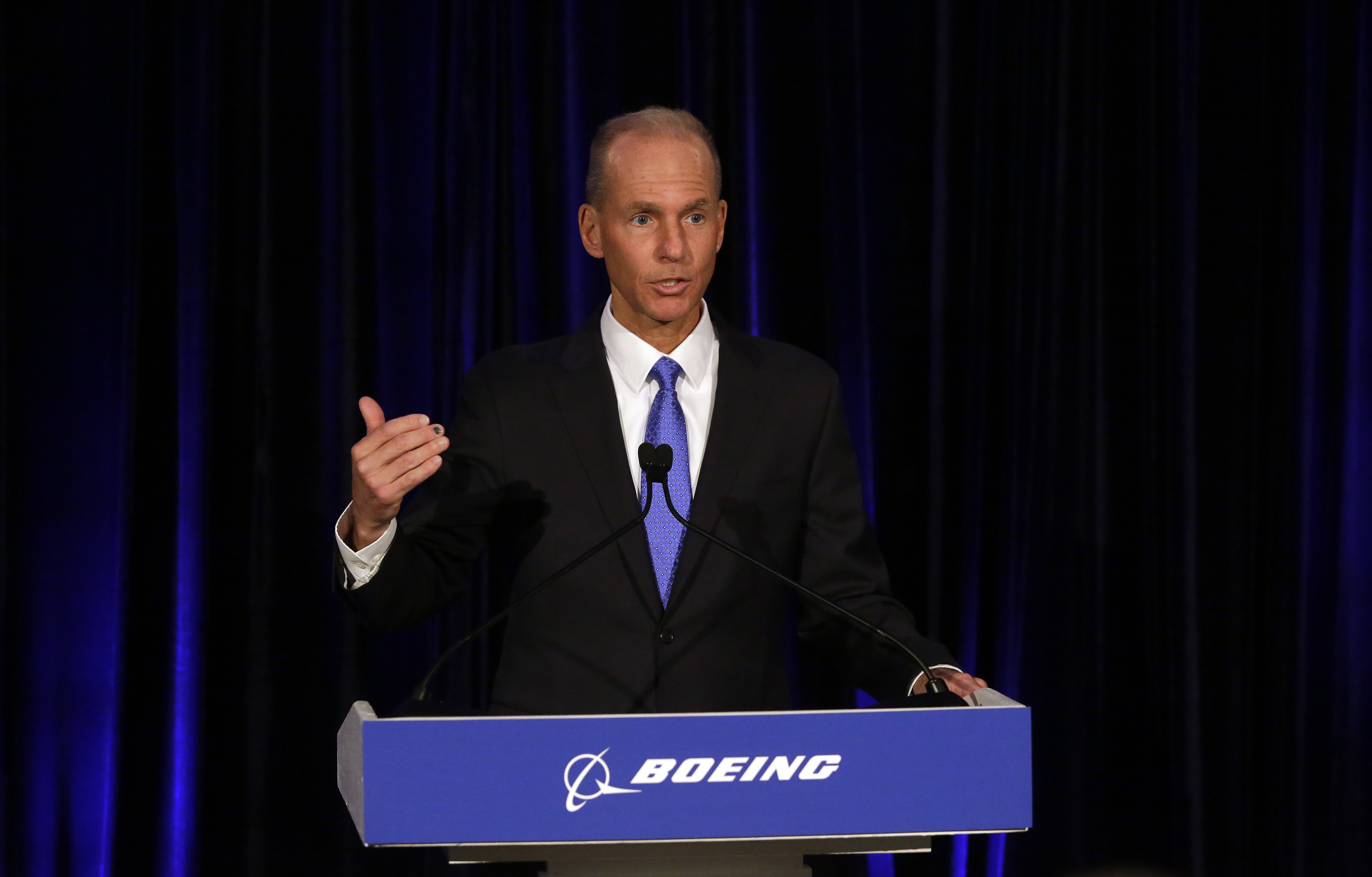 Boeing's Chairman, President and CEO Dennis Muilenburg speaks during a news conference after Boeing's Annual Meeting of Shareholders at the Field Museum on April 29, 2019 in Chicago, Illinois. (Photo by Joshua Lott-Pool/Getty Images)