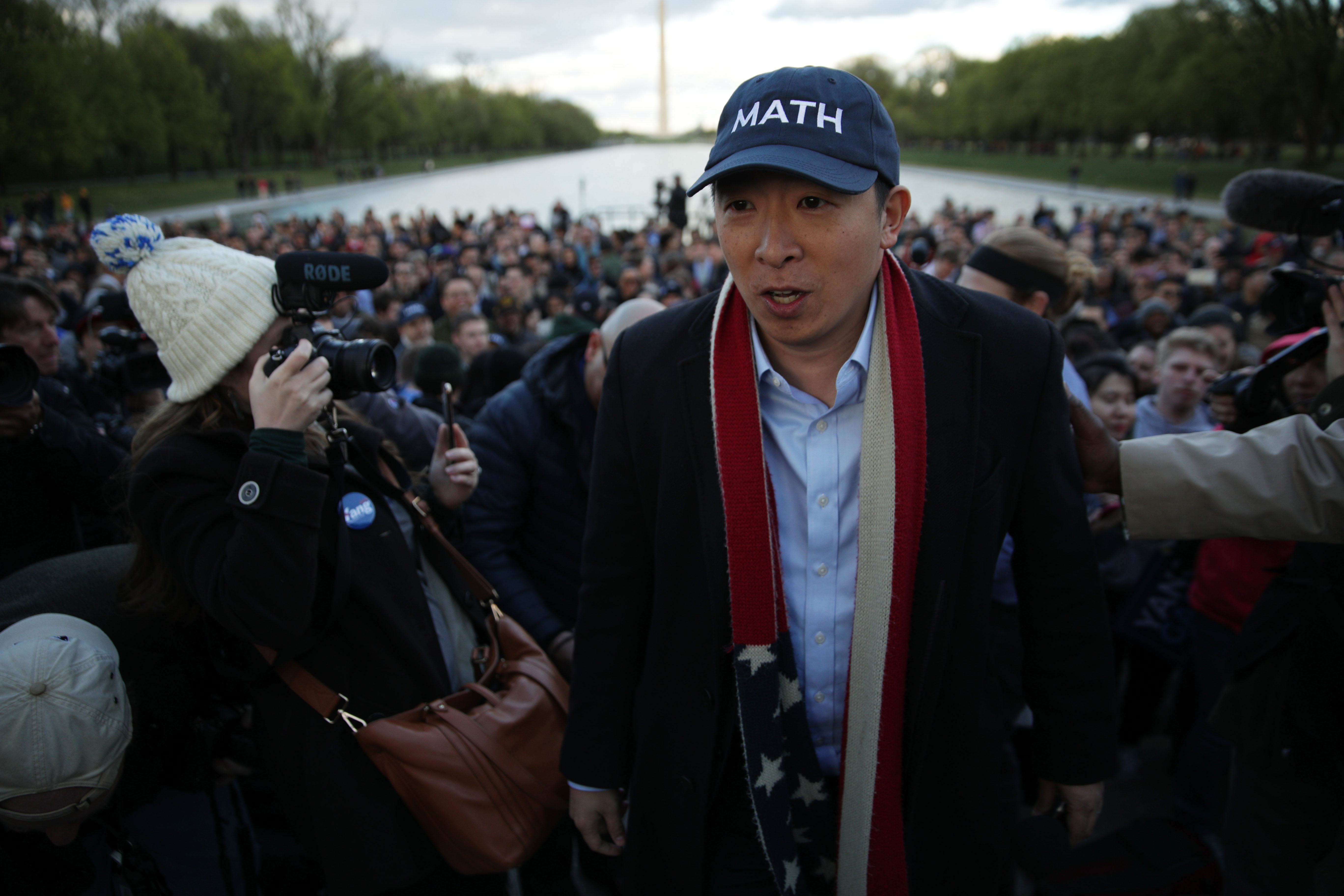 APRIL 15: Democratic U.S. presidential hopeful Andrew Yang hosts a campaign rally at the Lincoln Memorial April 15, 2019 in Washington, DC. One of Yang's major campaign promises is a universal basic income proposal to give every American 18 years and older $1,000 every month. (Photo by Alex Wong/Getty Images)