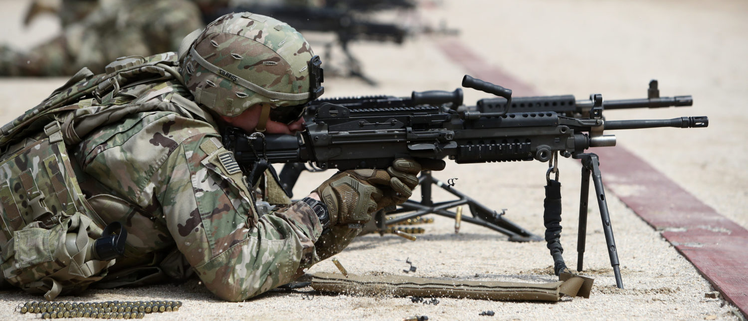 POCHEON, SOUTH KOREA - APRIL 16: U.S. soldiers from 2nd Infantry Division take part in the Best Warrior Competition at the Rodriguez Range on April 16, 2019 in Pocheon, South Korea. The 2nd Infantry Division's annual Best Warrior Competition includes disciplines such as the Army Combat Fitness Test, the Eight-mile Foot March, land navigation as well as mental agility tests. (Photo by Chung Sung-Jun/Getty Images)