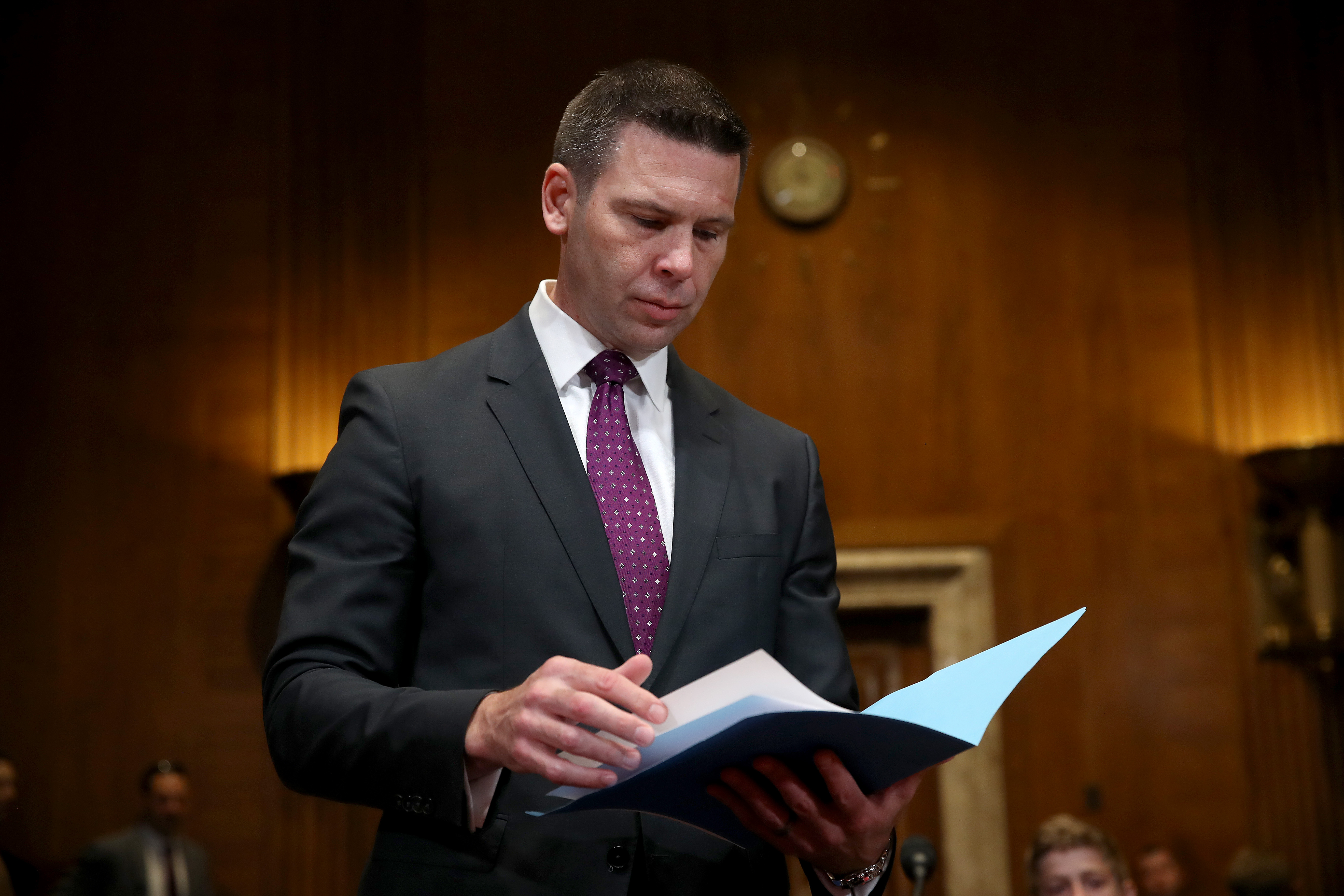 Acting Homeland Security Secretary Kevin McAleenan prepares to testify before the Senate Homeland Security Subcommittee May 2, 2019 in Washington, DC. (Win McNamee/Getty Images)