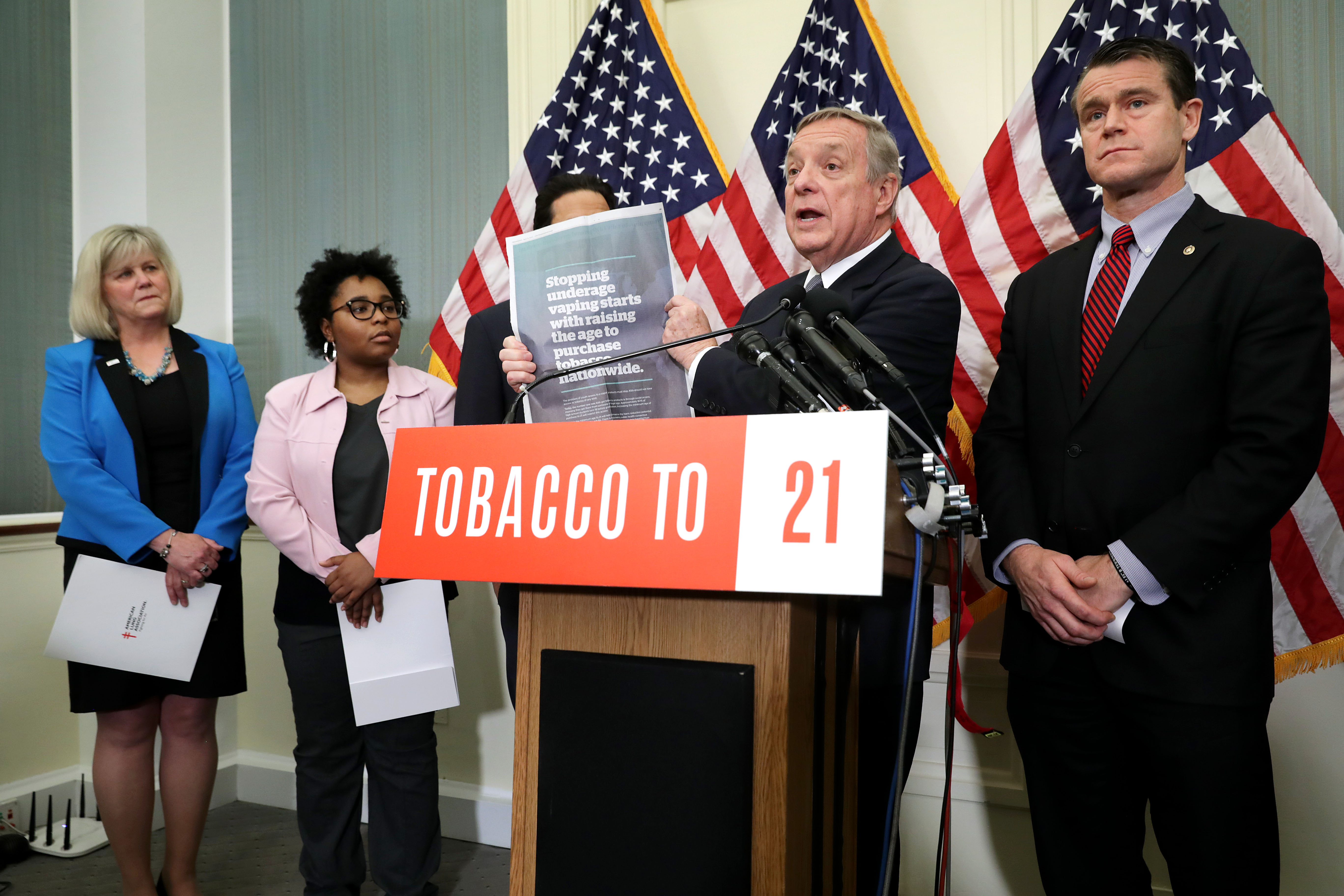 American Lung Association Chief Mission Officer Deborah Brown, high school senior and Delaware Kick Butts Generation Chair Queen Cornish, Sen. Richard Durbin and Sen. Todd Young talk about their proposed Tobacco To 21 legislation during a news conference at the U.S. Capitol May 08, 2019 in Washington, DC. (Photo by Chip Somodevilla/Getty Images)