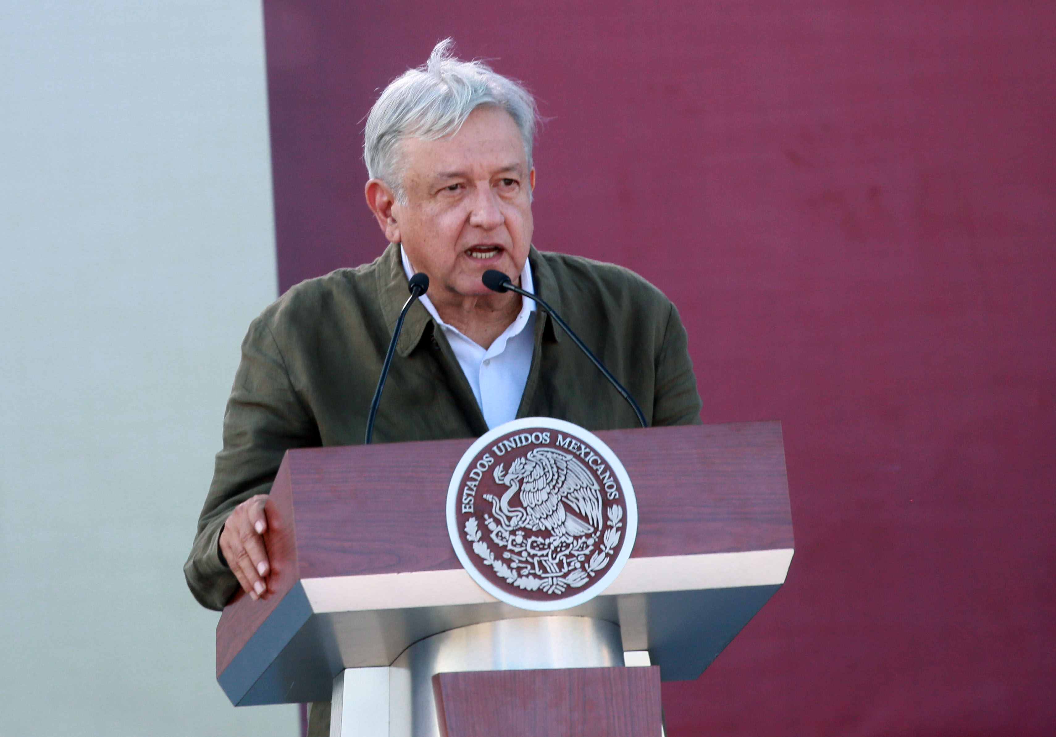 Mexican President Andres Manuel Lopez Obrador speaks during a unity rally on June 8, 2019. Lopez Obrador committed to defending Mexicos dignity amid a looming threat from U.S. President Donald Trump (Sandy Huffaker/Getty Images)