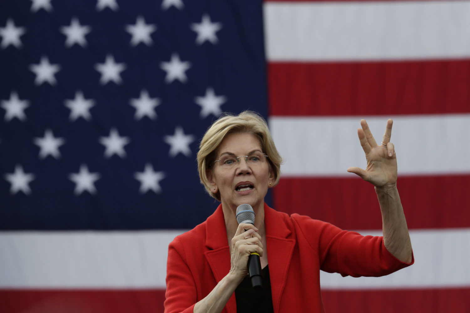 Democratic U.S. presidential hopeful Sen. Elizabeth Warren (D-MA) speaks during a campaign town hall at George Mason University May 16, 2019 in Fairfax, Virginia. (Alex Wong/Getty Images)