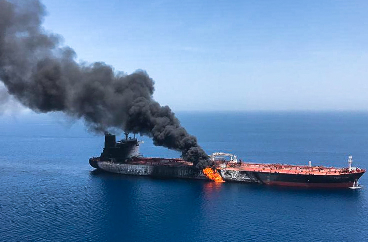 A picture obtained by AFP from Iranian News Agency ISNA on June 13, 2019 reportedly shows fire and smoke billowing from Norwegian owned Front Altair tanker said to have been attacked in the waters of the Gulf of Oman. (AFP/Getty Images)