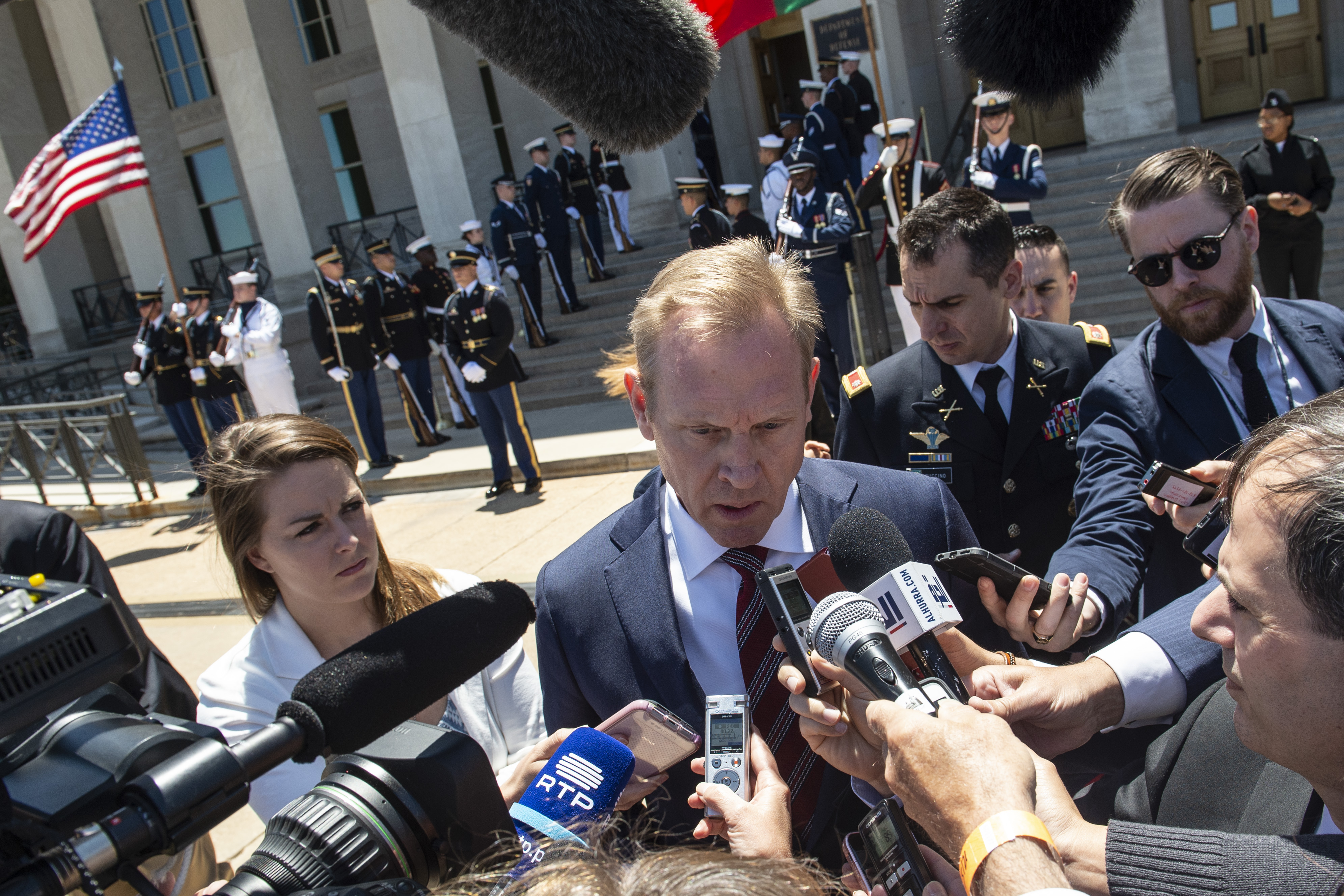 Acting US Secretary of Defense Patrick Shanahan speaks to reporters before his meeting with his Portuguese counterpart Joao Gomes Cravinho at the Pentagon in Washington, DC, on June 14, 2019. (ERIC BARADAT/AFP/Getty Images)