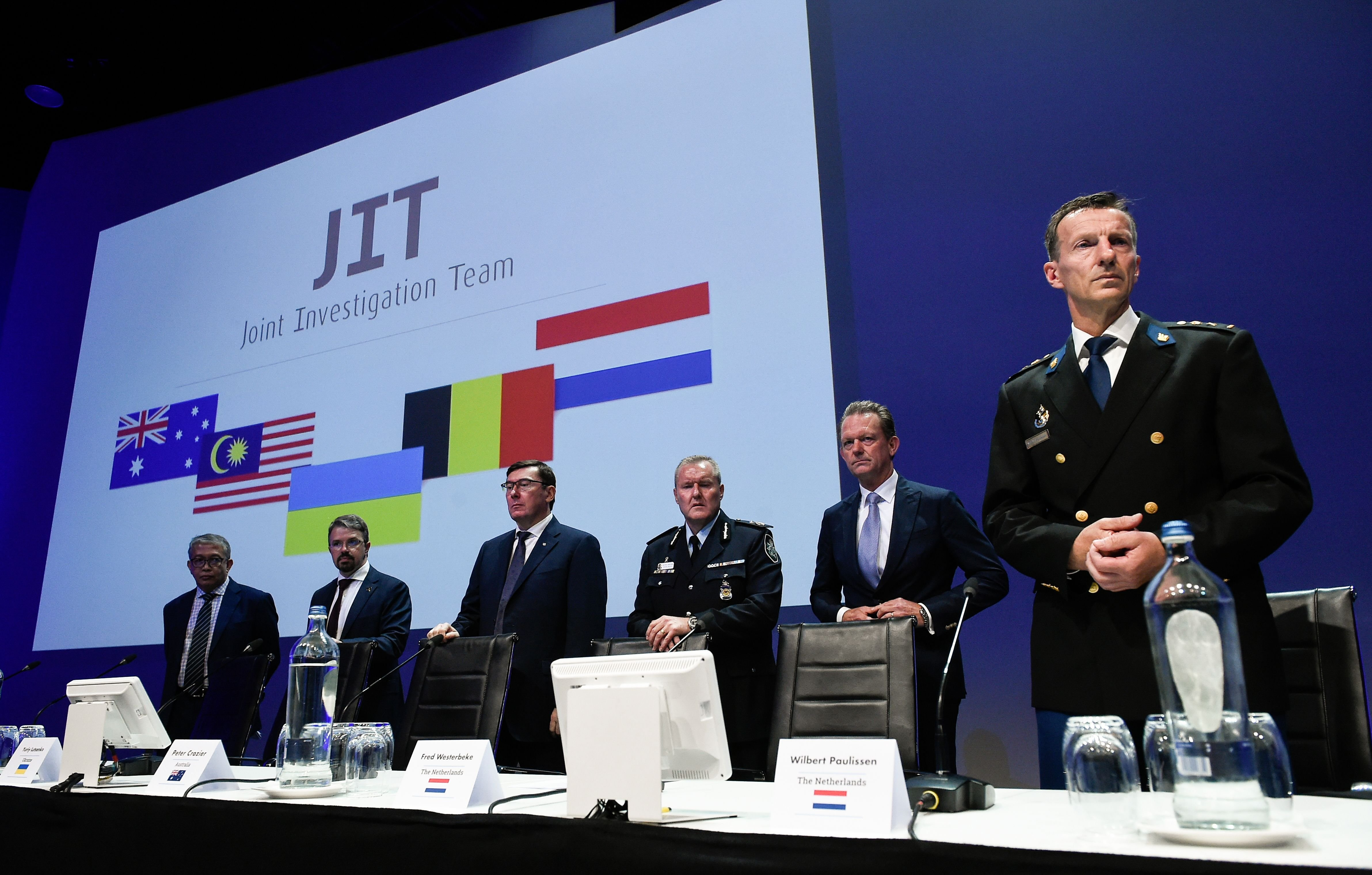 Members of the Joint Investigation Team hold a press conference on June 19, 2019 in Nieuwegein, on the ongoing investigation of the Malaysia Airlines MH17 crash in 2014. (JOHN THYS/AFP/Getty Images)