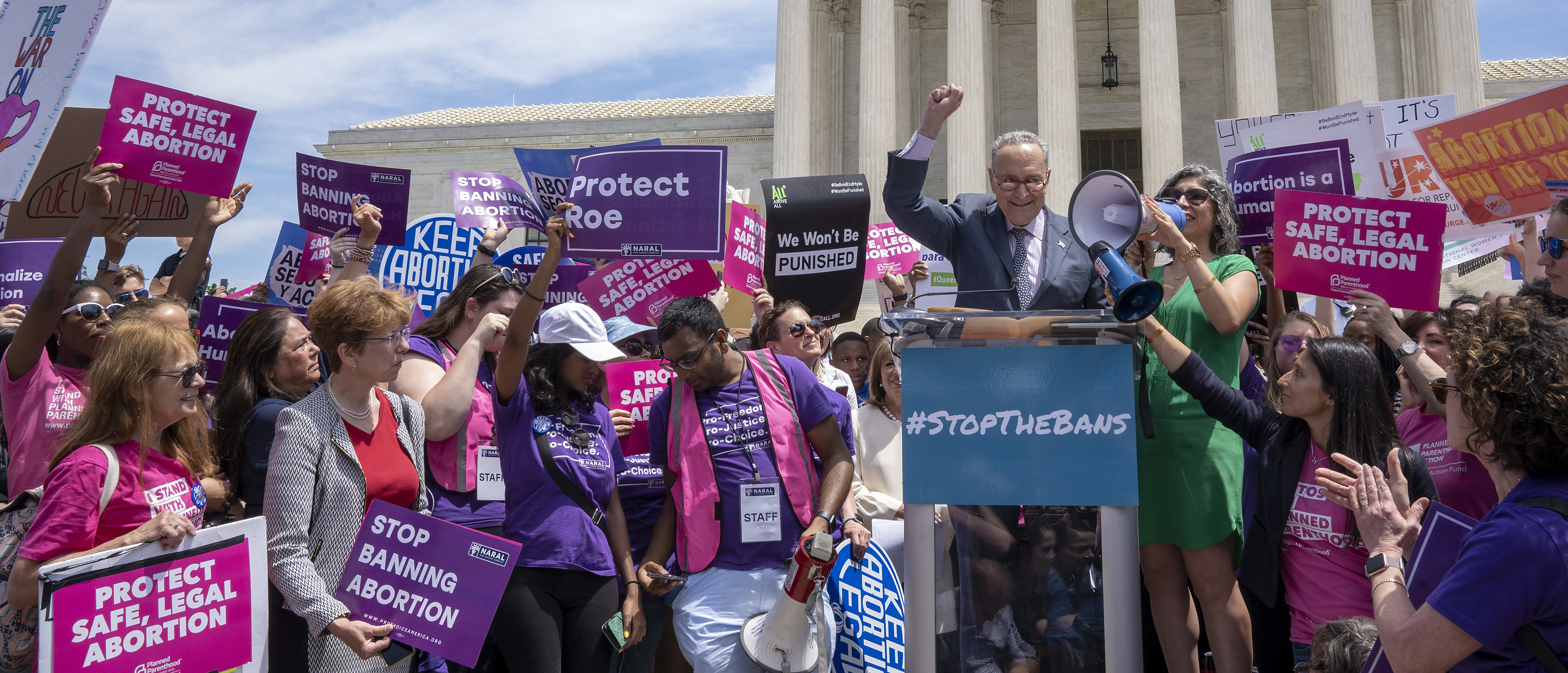 Senate Minority Leader Charles Schumer (D-NY) speaks at a pro-choice rally at the Supreme Court on May 21, 2019 in Washington, DC. (Tasos Katopodis/Getty Images)
