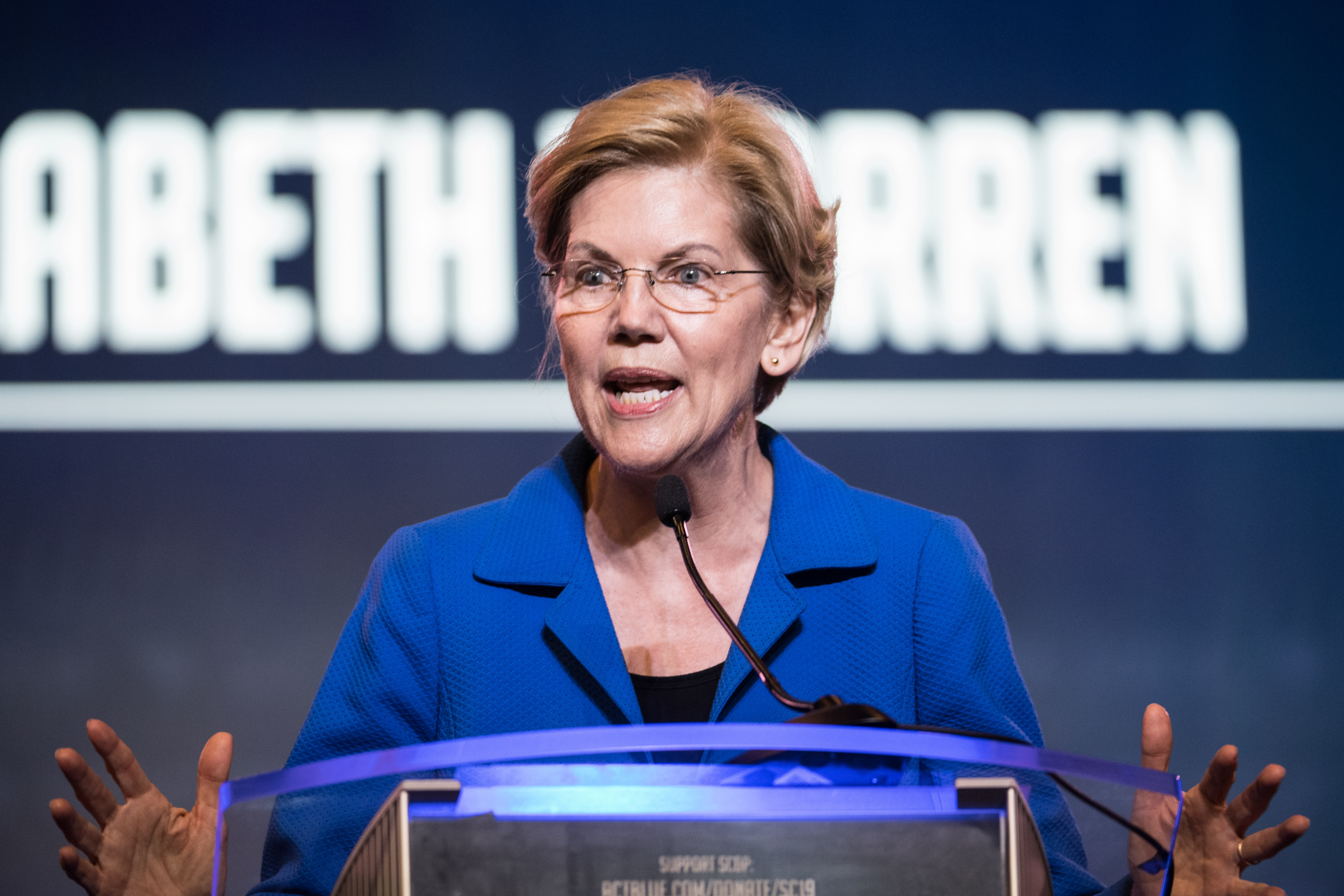 Democratic presidential candidate Sen. Elizabeth Warren addresses the crowd at the 2019 South Carolina Democratic Party State Convention on June 22, 2019 in Columbia, South Carolina. (Sean Rayford/Getty Images)