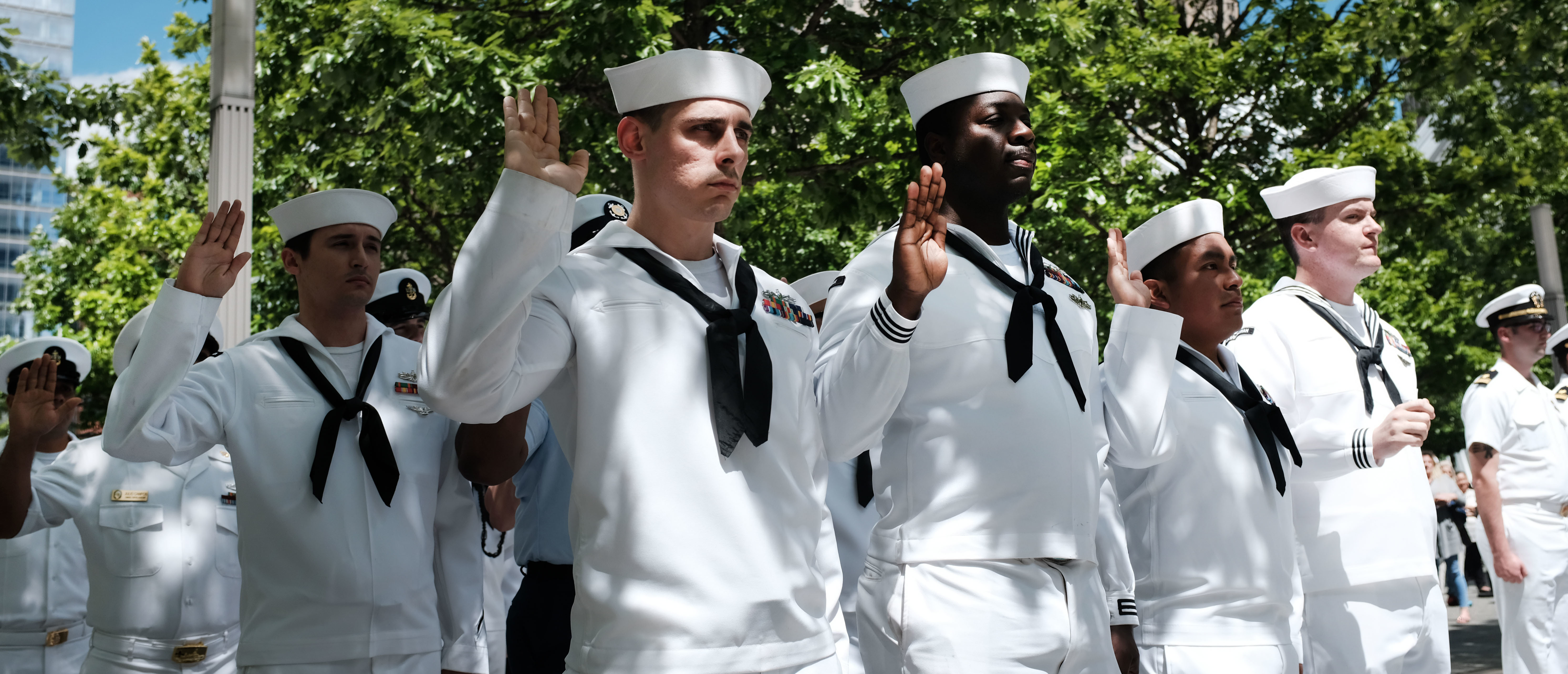 Members of the United States Navy participate in a re-enlistment and promotions ceremony at the September 11 Memorial on May 24, 2019 in New York City. (Spencer Platt/Getty Images)