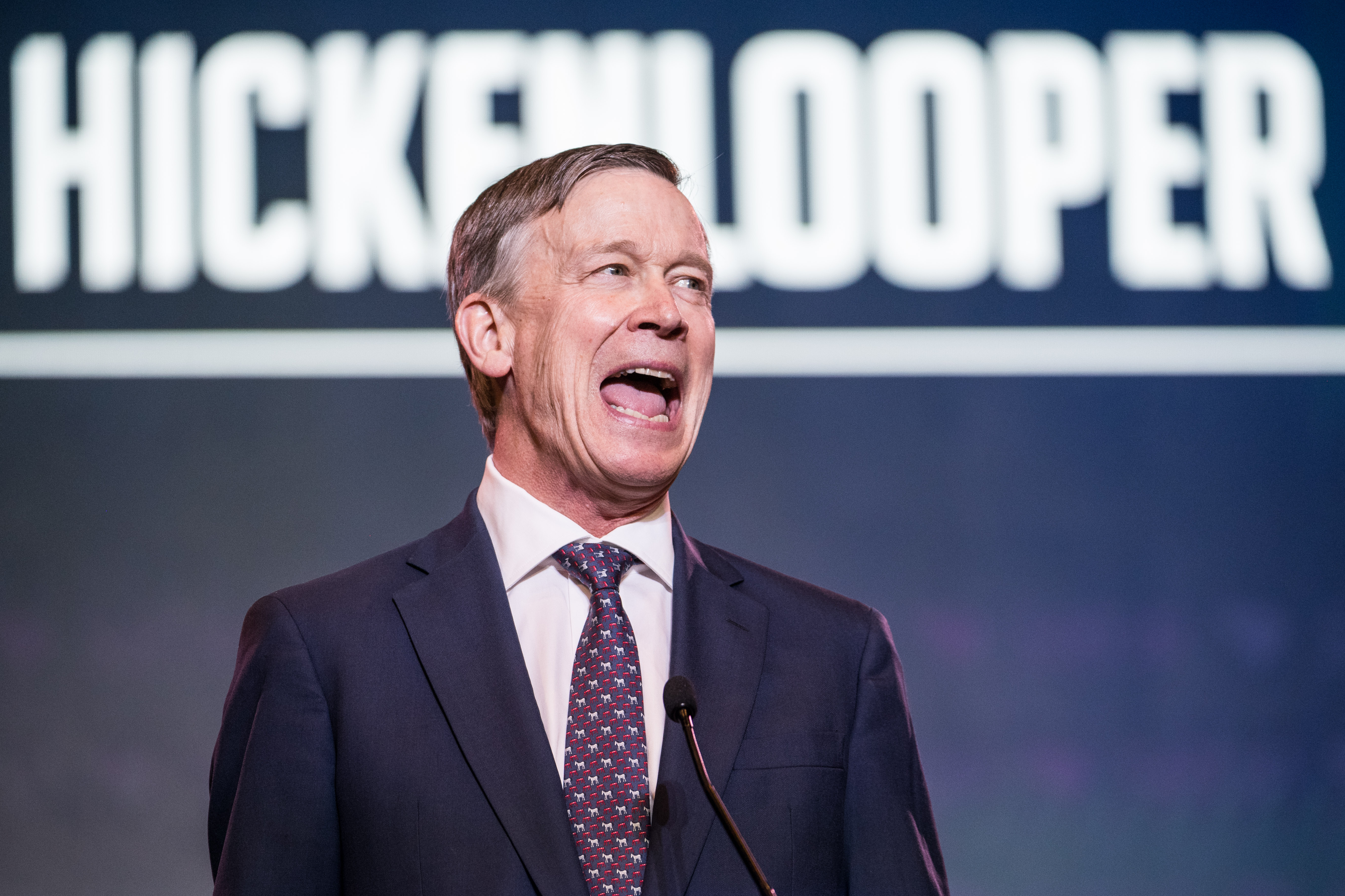 Democratic presidential candidate, former Colorado Governor John Hickenlooper speaks to the crowd during the 2019 South Carolina Democratic Party State Convention on June 22, 2019 in Columbia, South Carolina. (Photo by Sean Rayford/Getty Images)